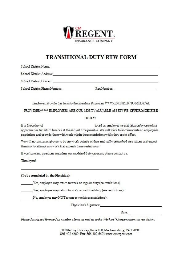 Free return to work form 40