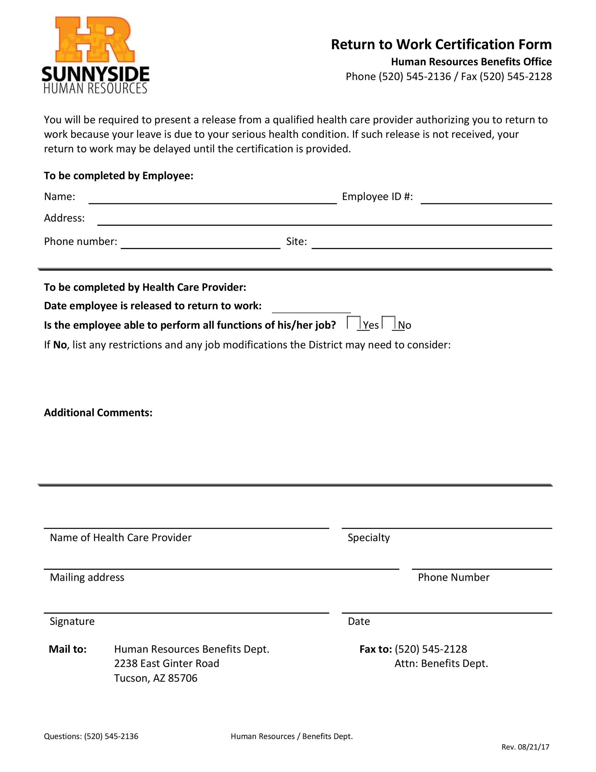 Free return to work form 41