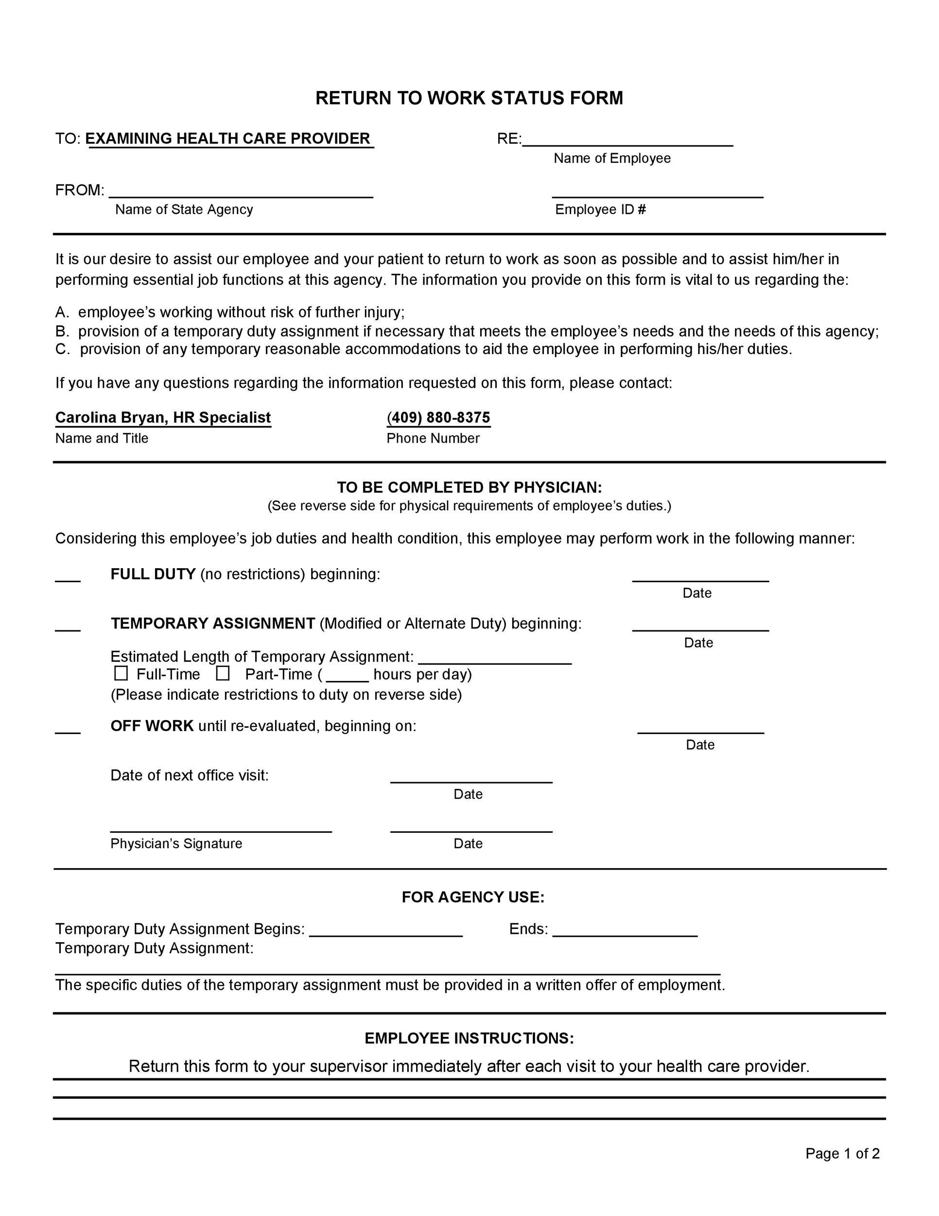 Free return to work form 43