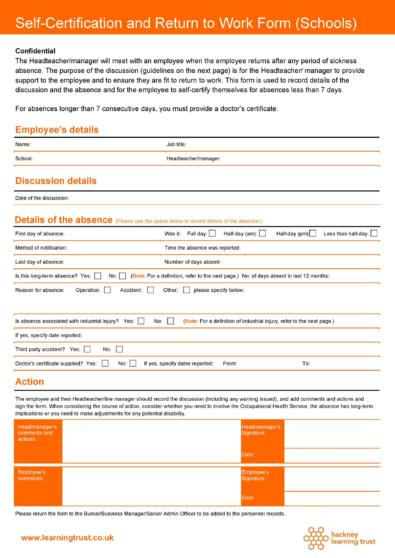 Return To Work Forms