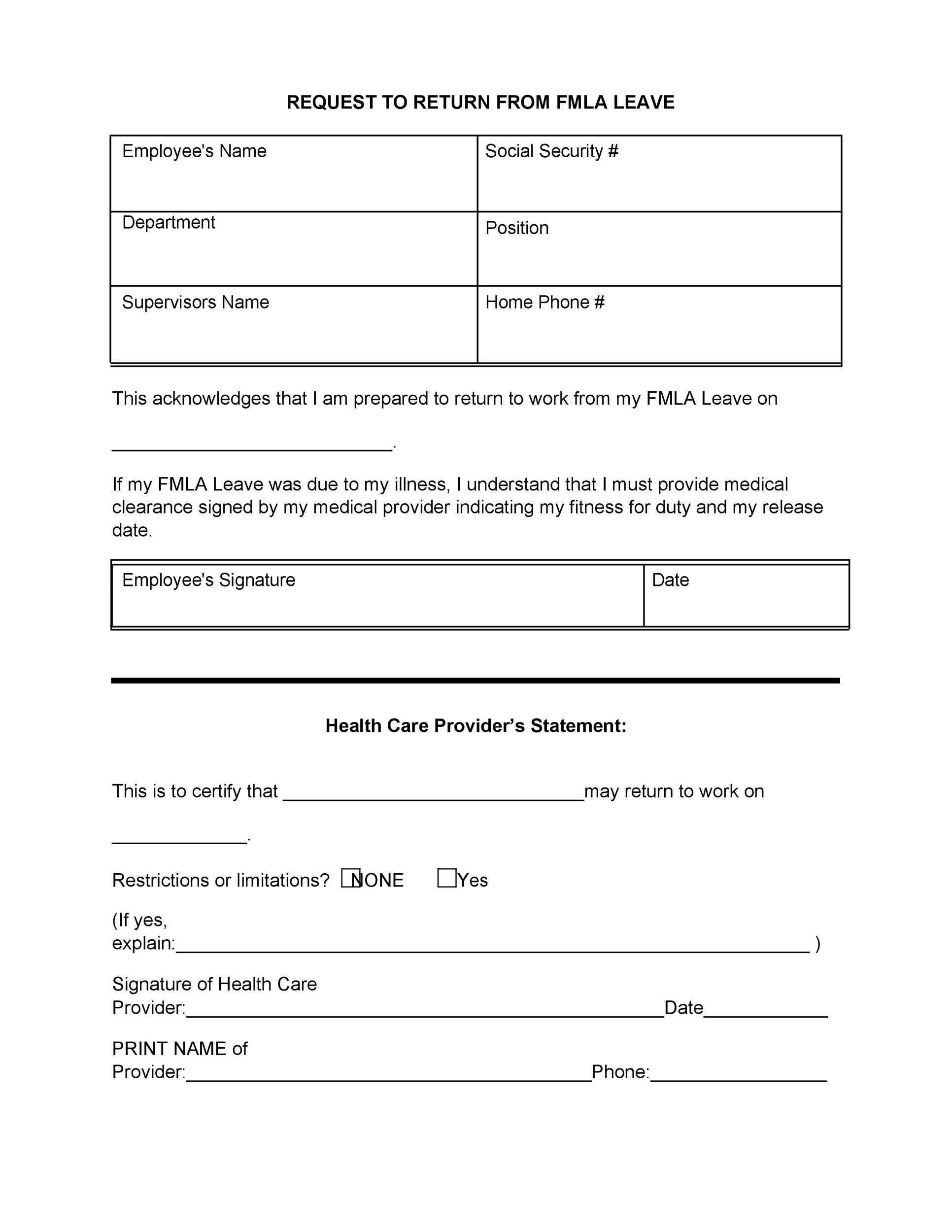 Free return to work form 49