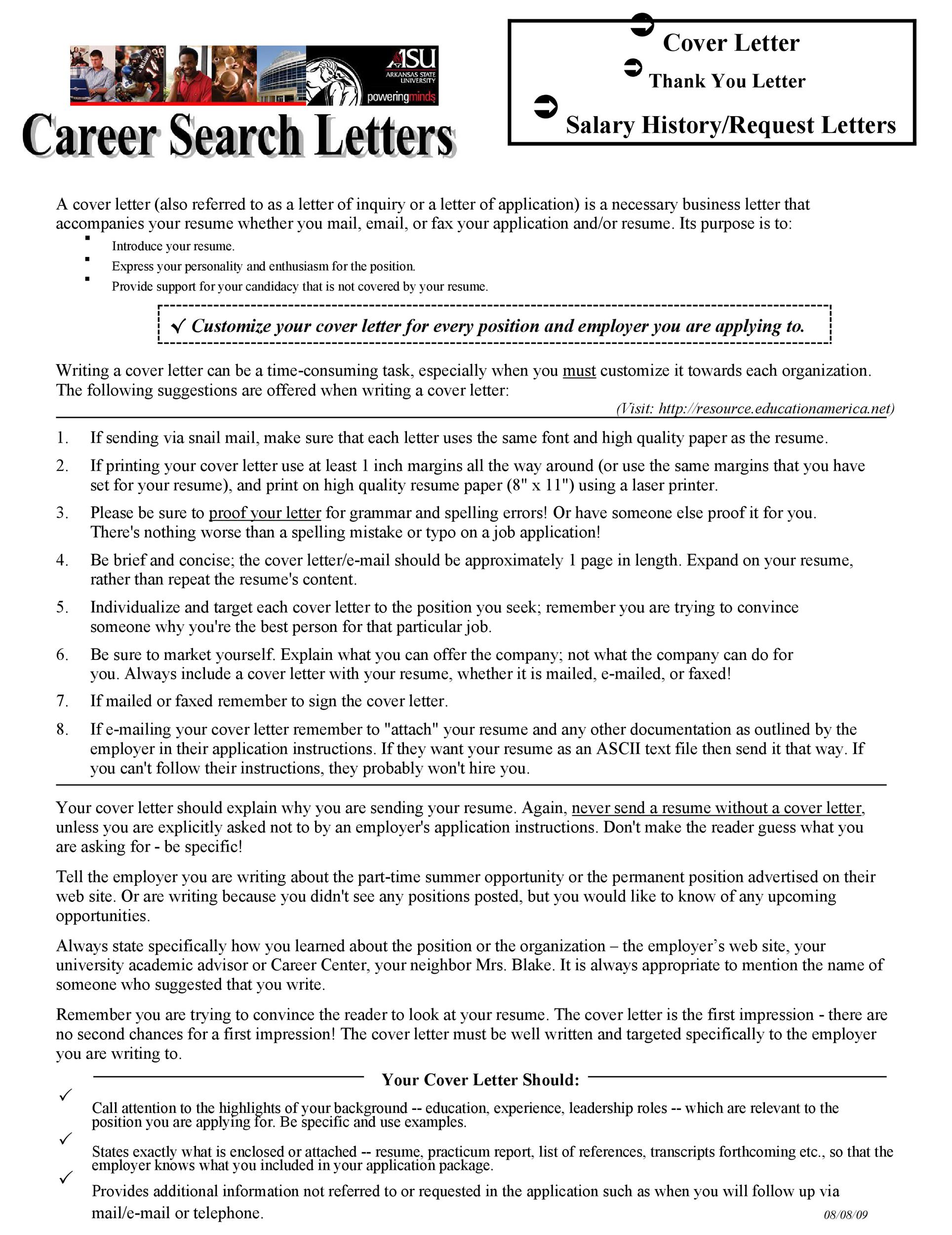 salary requirements in cover letters