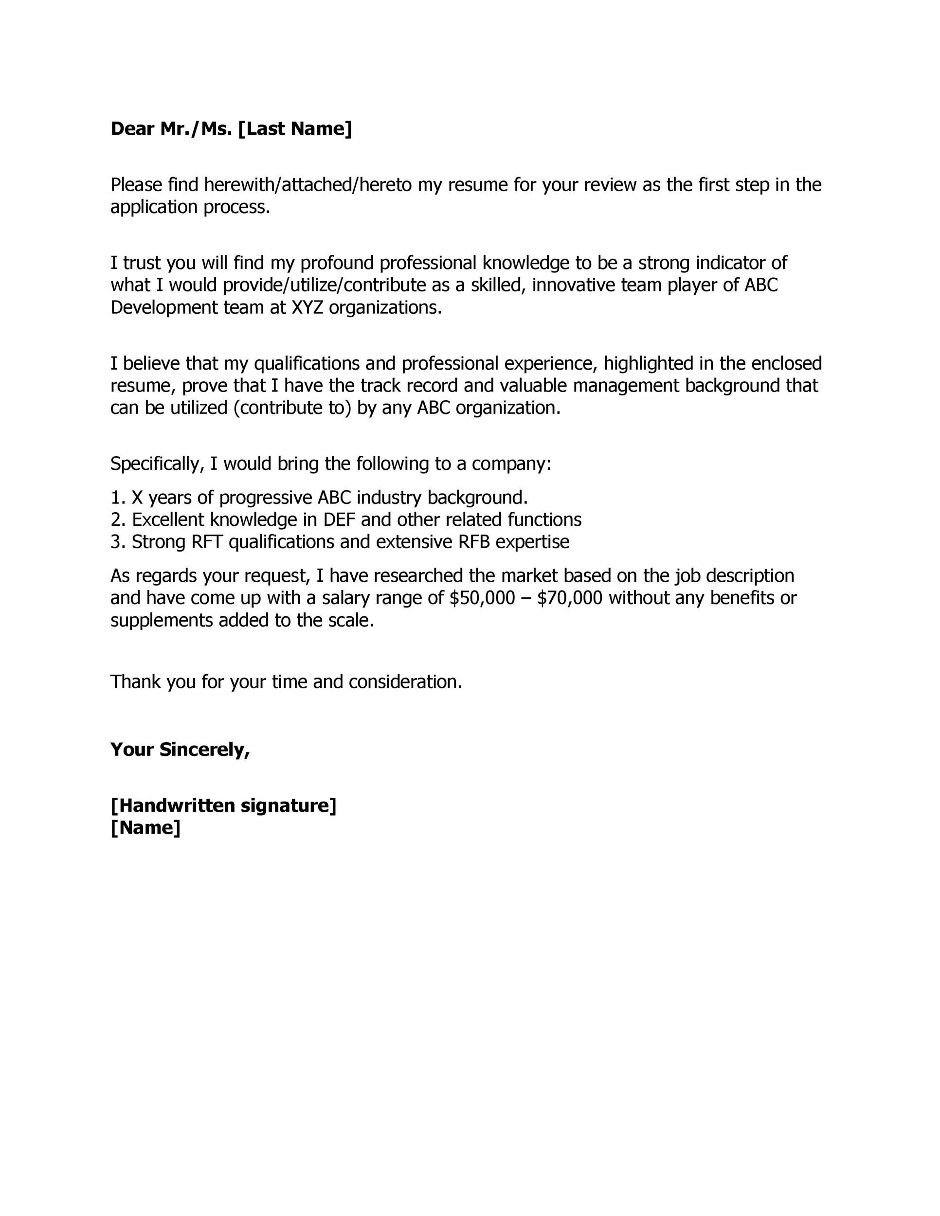 Sample Cover Letter With Salary Requirements But Negotiable