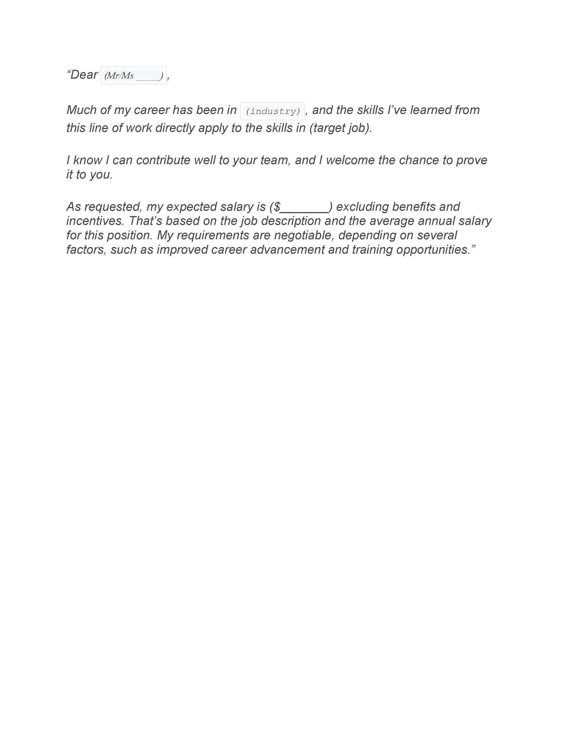 Free Salary Requirements Cover Letter 27