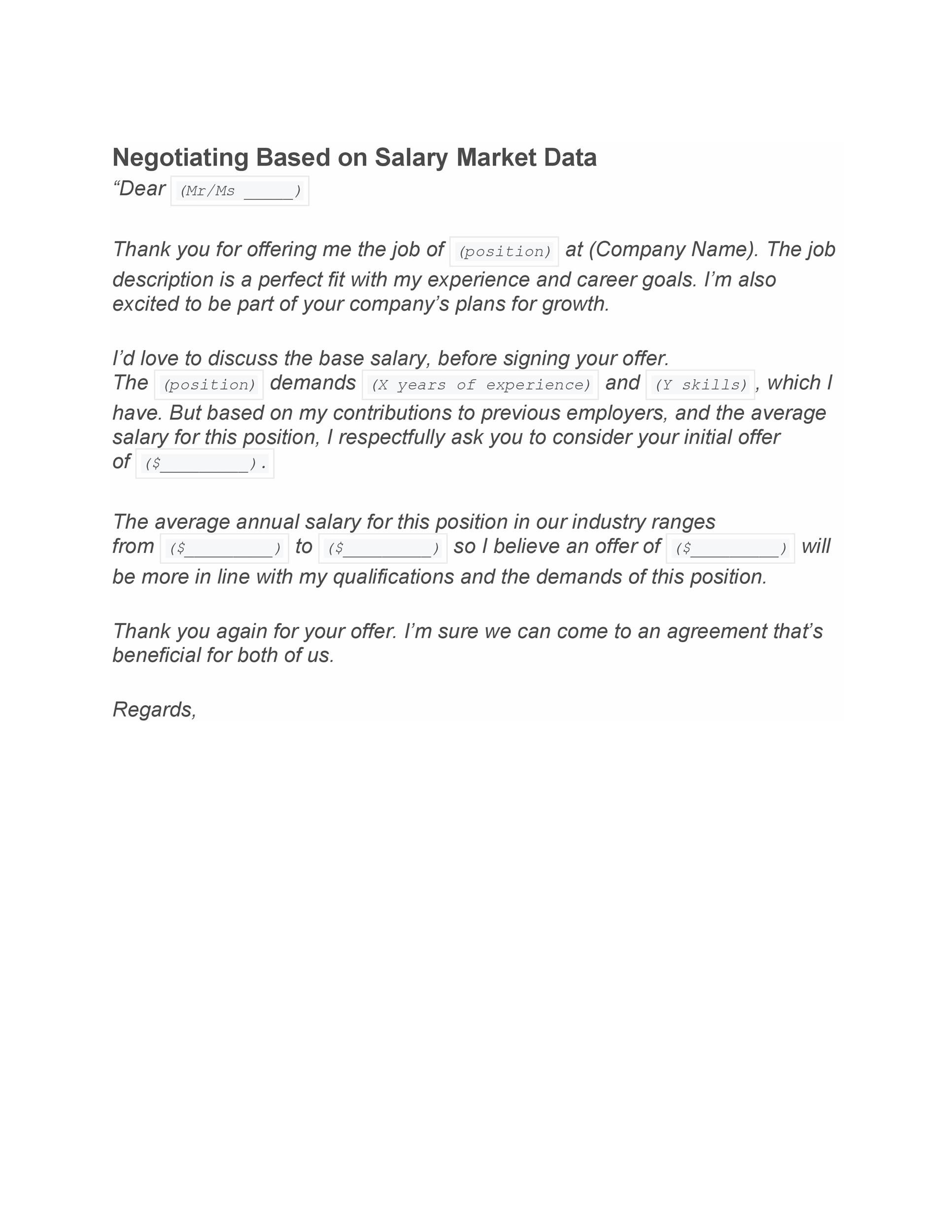 Free salary requirements cover letter 30