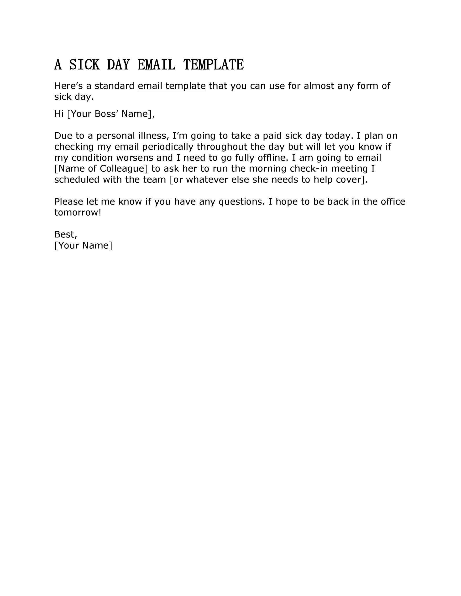 Free sick leave email 13