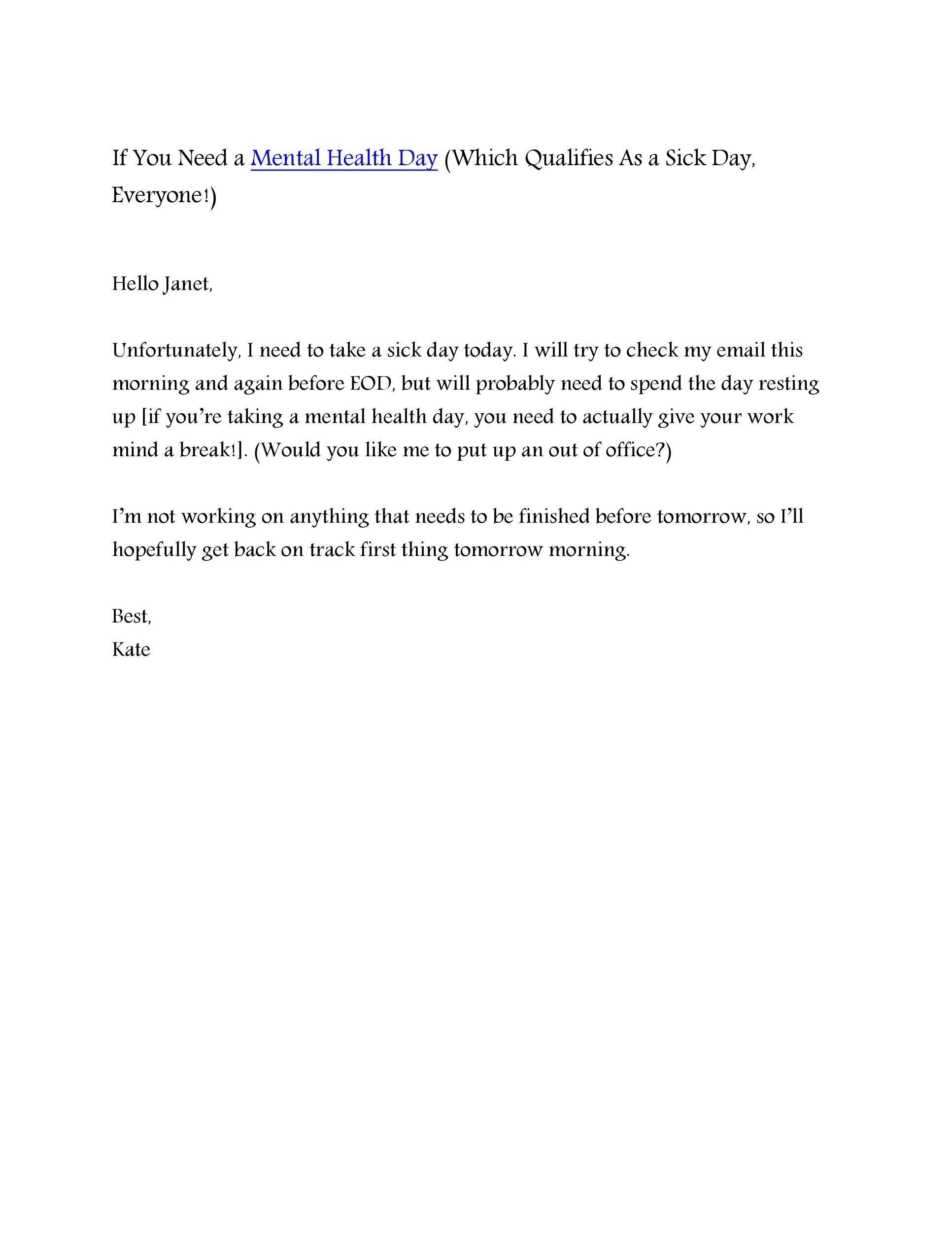 Free sick leave email 17