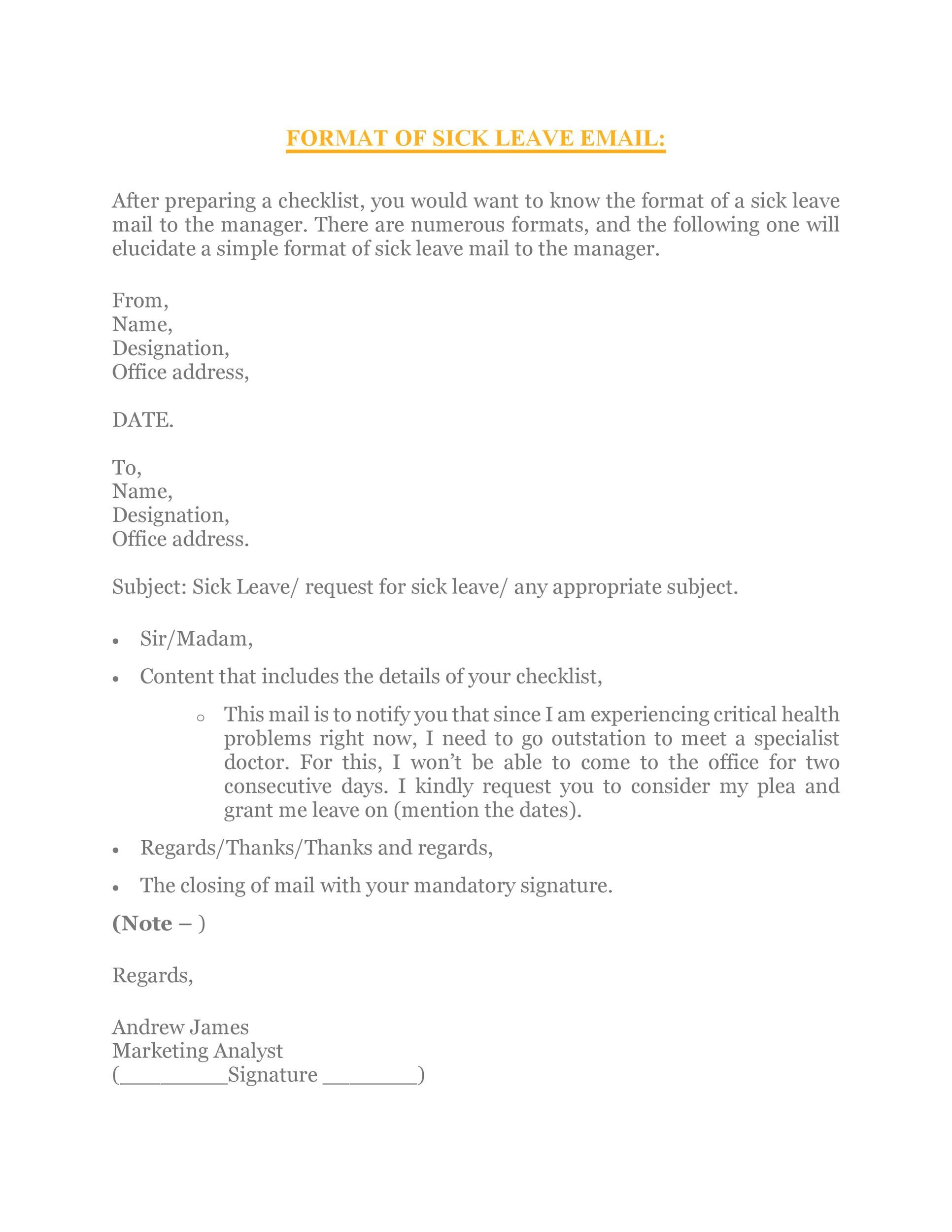 Free sick leave email 31