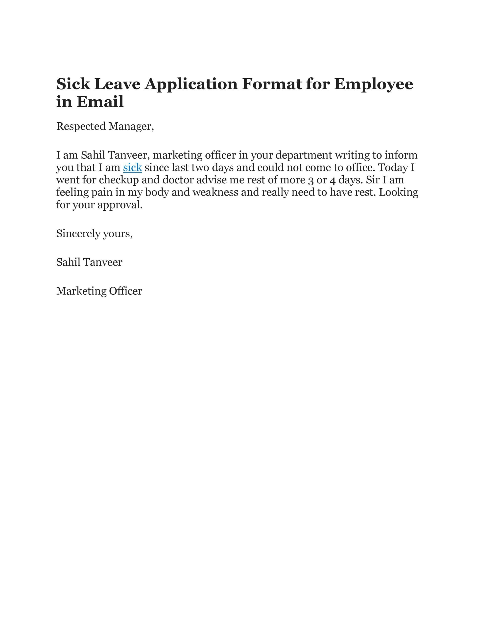 Sick Leave Letter To Manager from templatelab.com