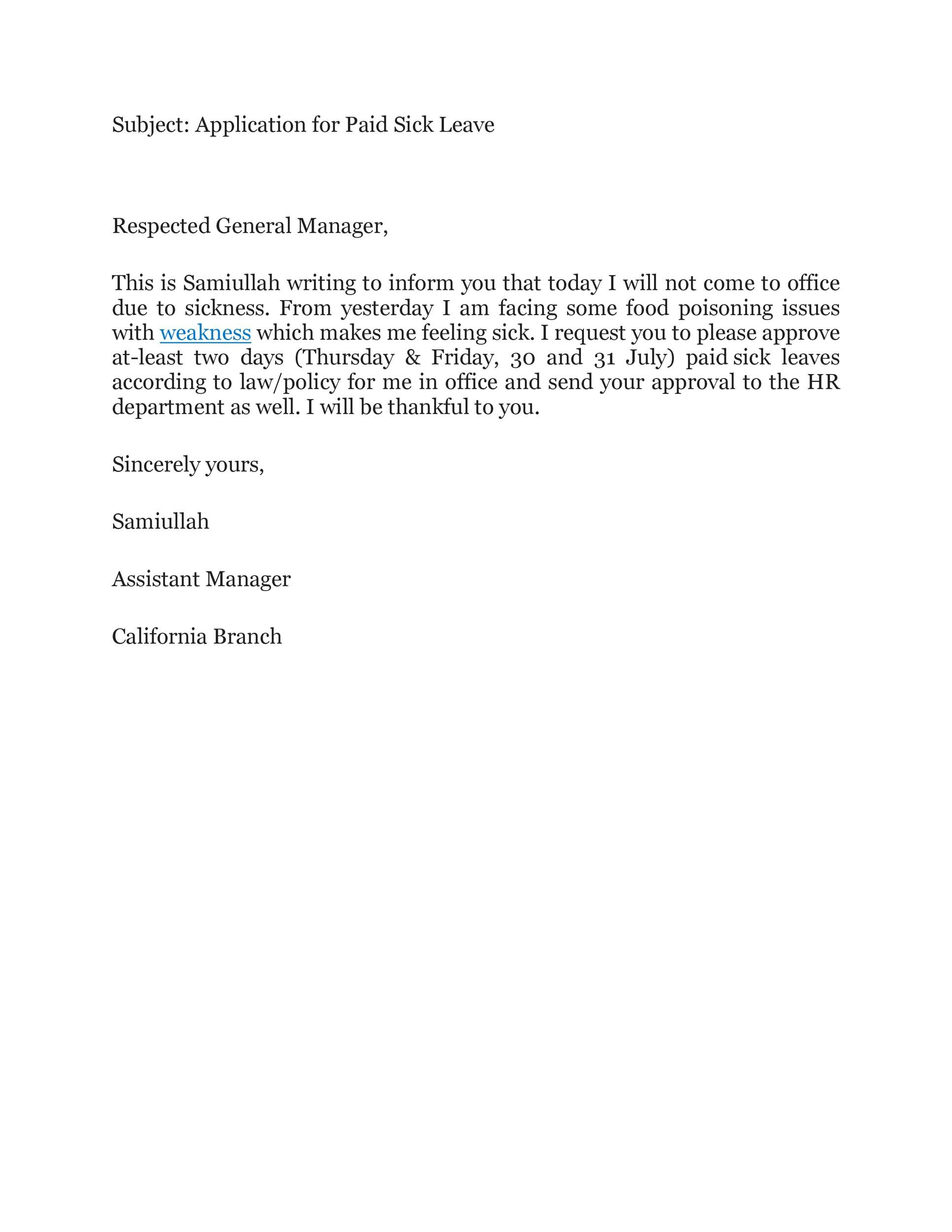 Free sick leave email 37