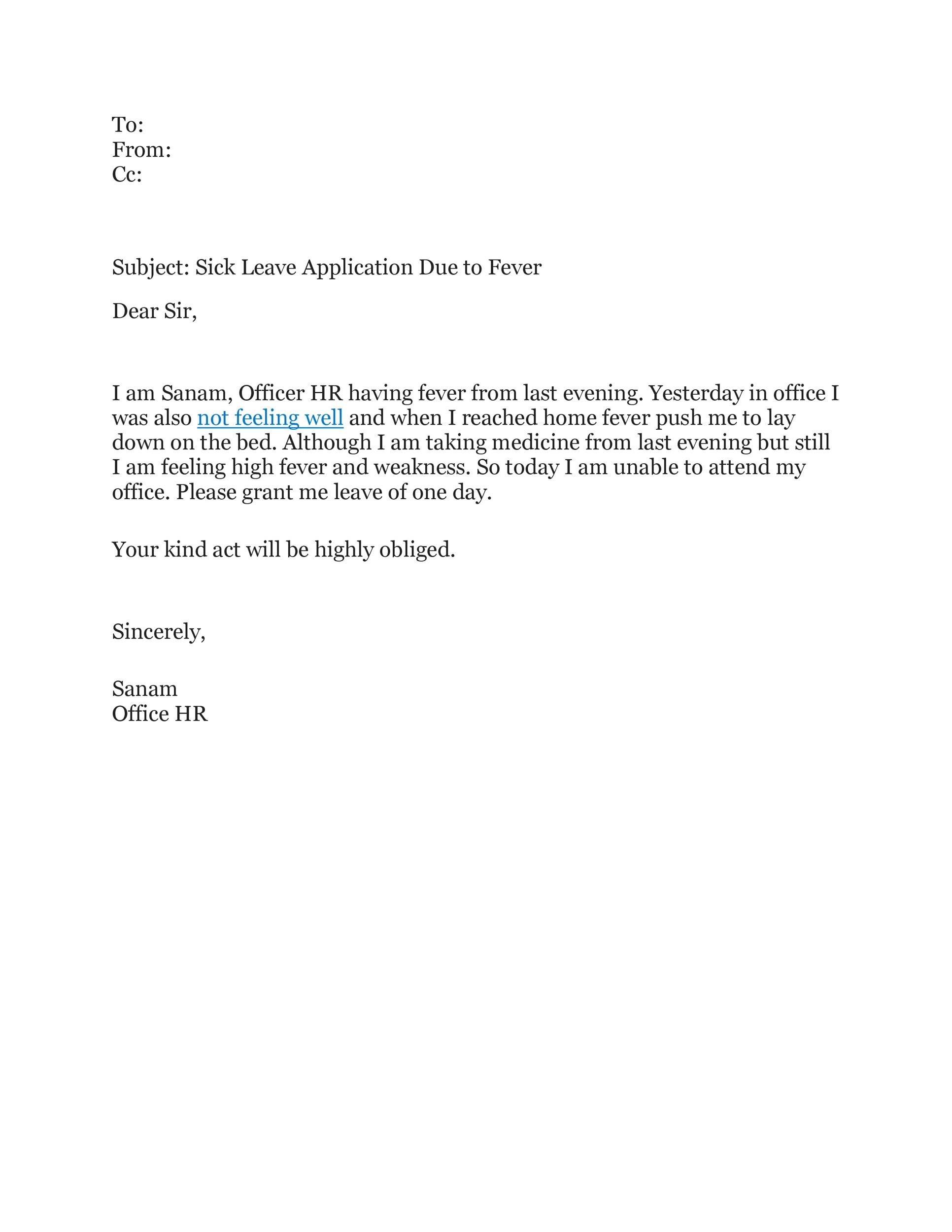 49 Professional Sick Leave Email Templates Á… Templatelab