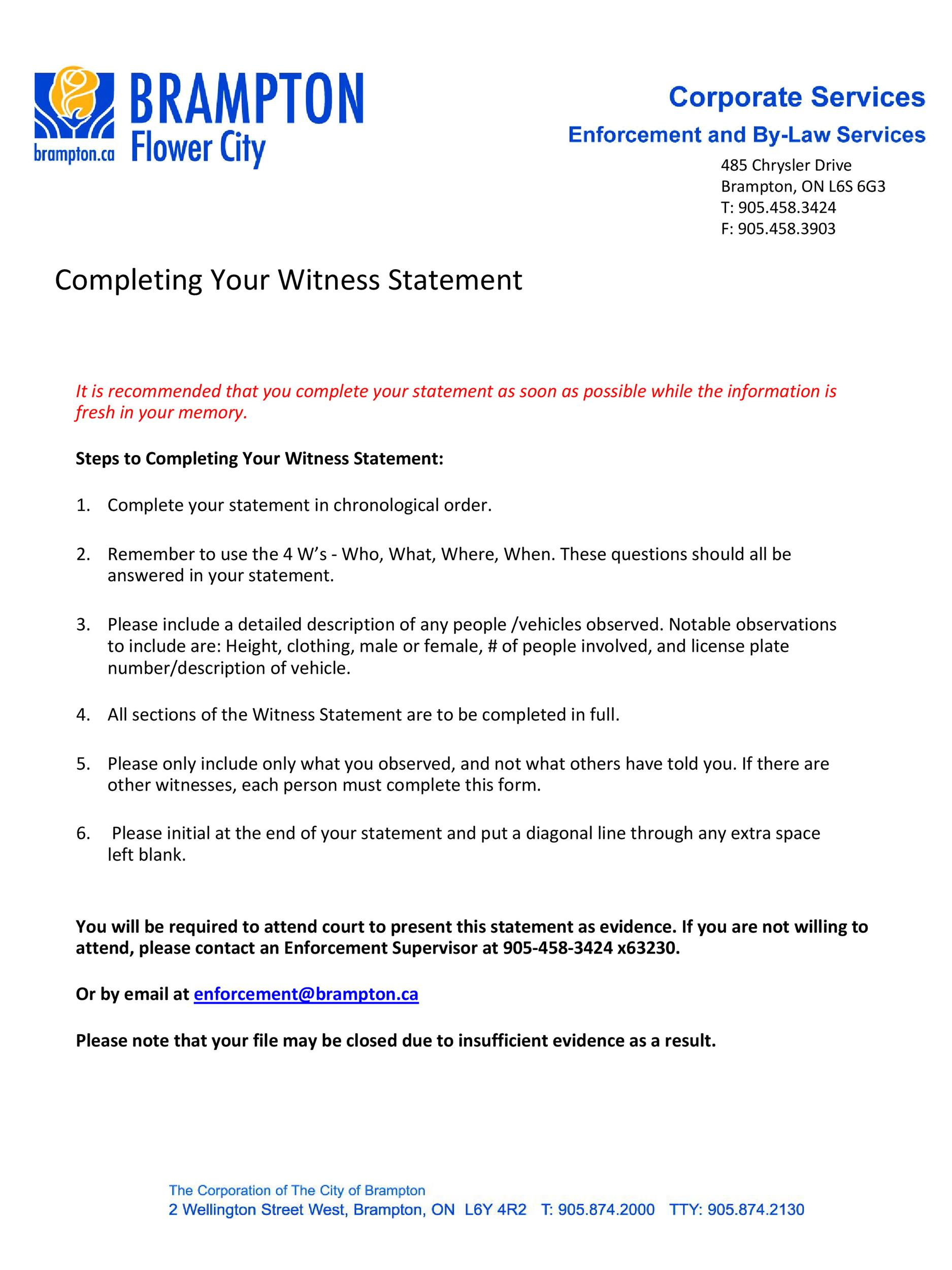 Free witness statement form 03