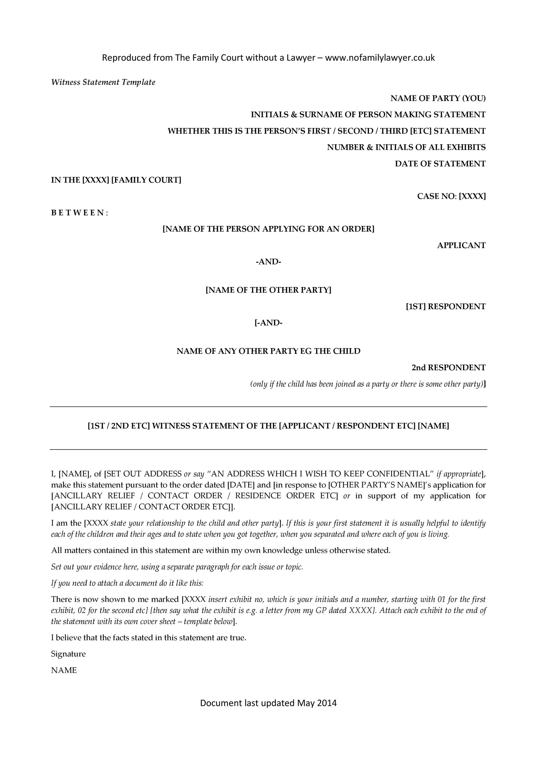 Free witness statement form 11