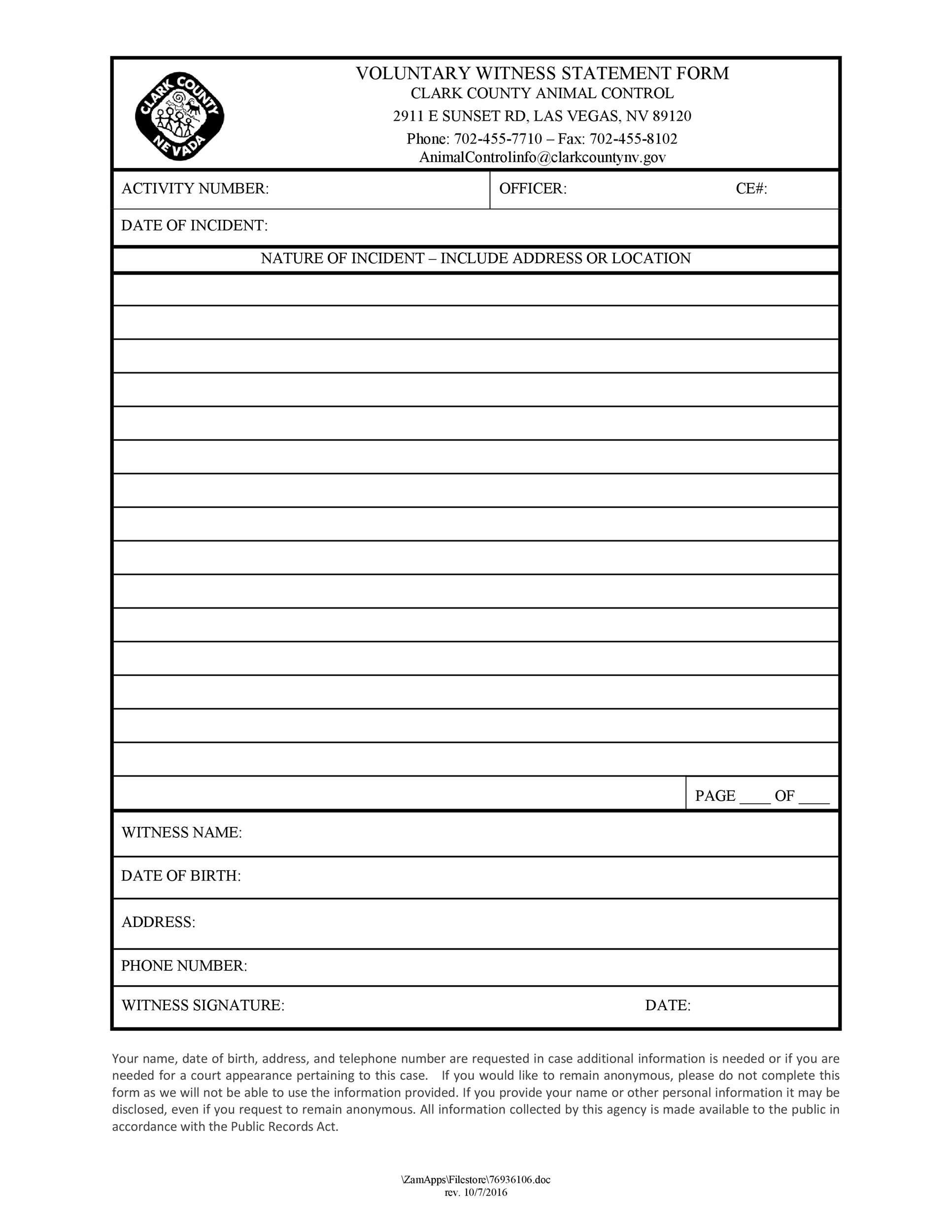 Free witness statement form 14