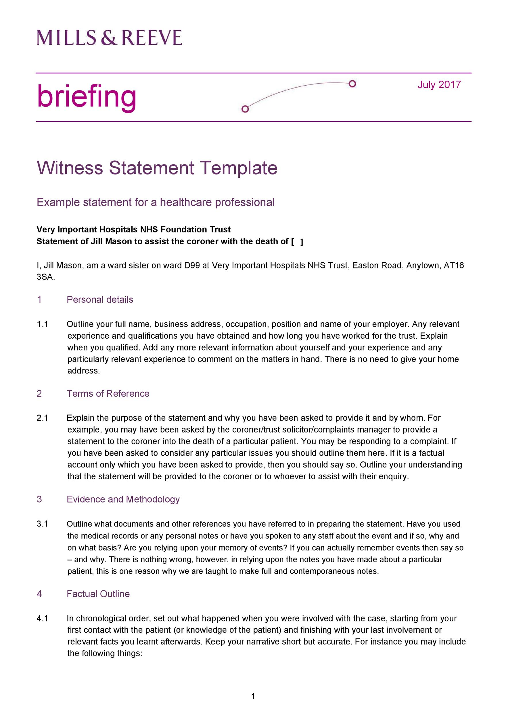 Free witness statement form 17
