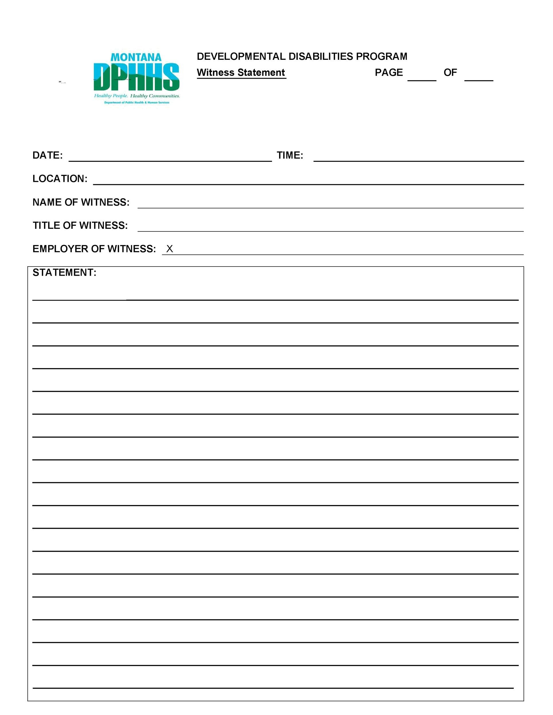 Free witness statement form 20