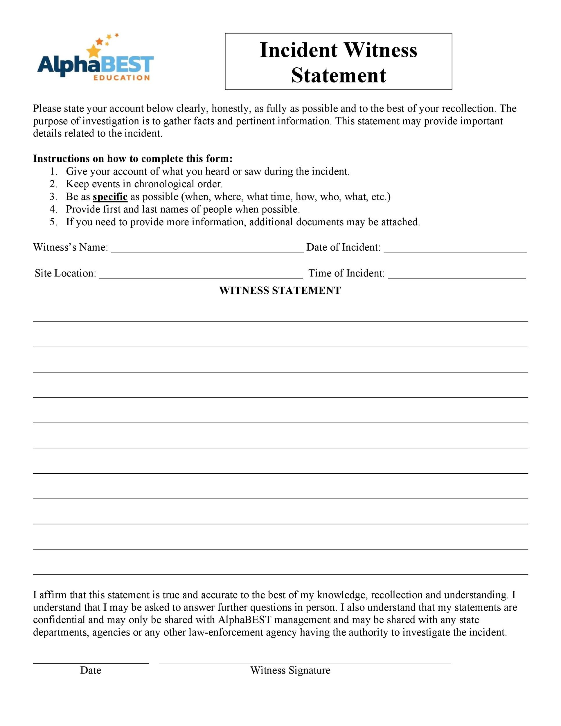 Free witness statement form 23