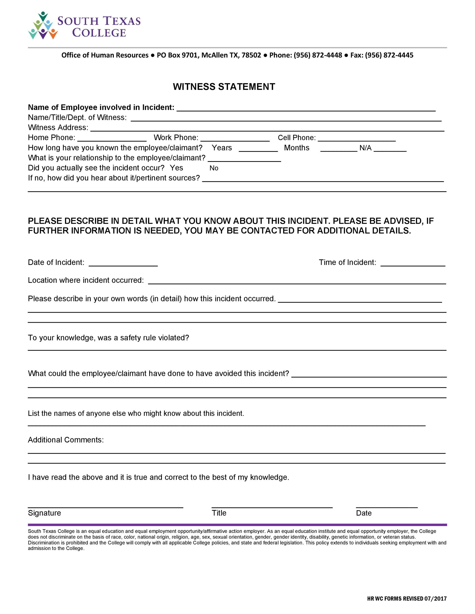 50 Professional Witness Statement Forms & Templates ᐅ
