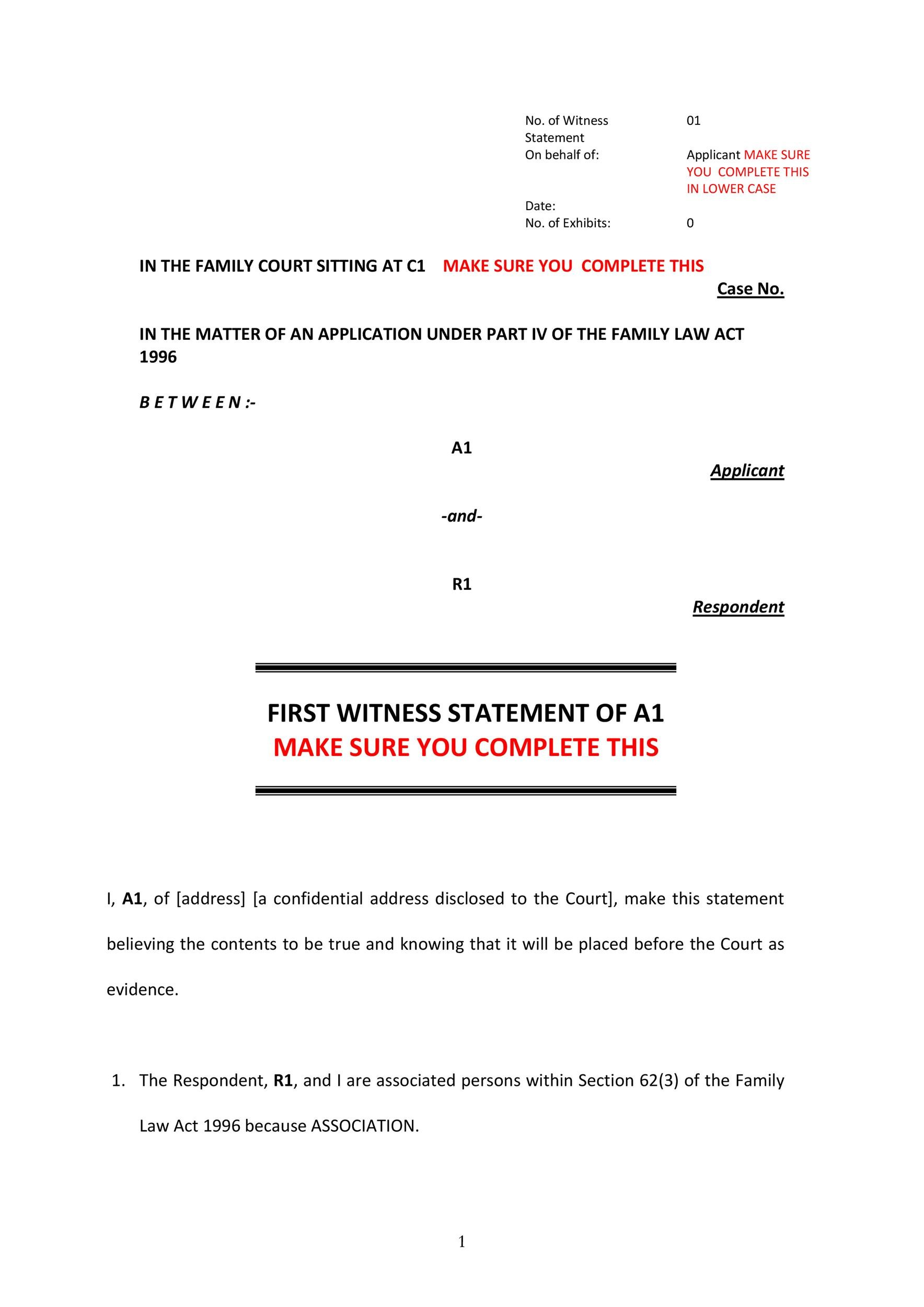Free witness statement form 47