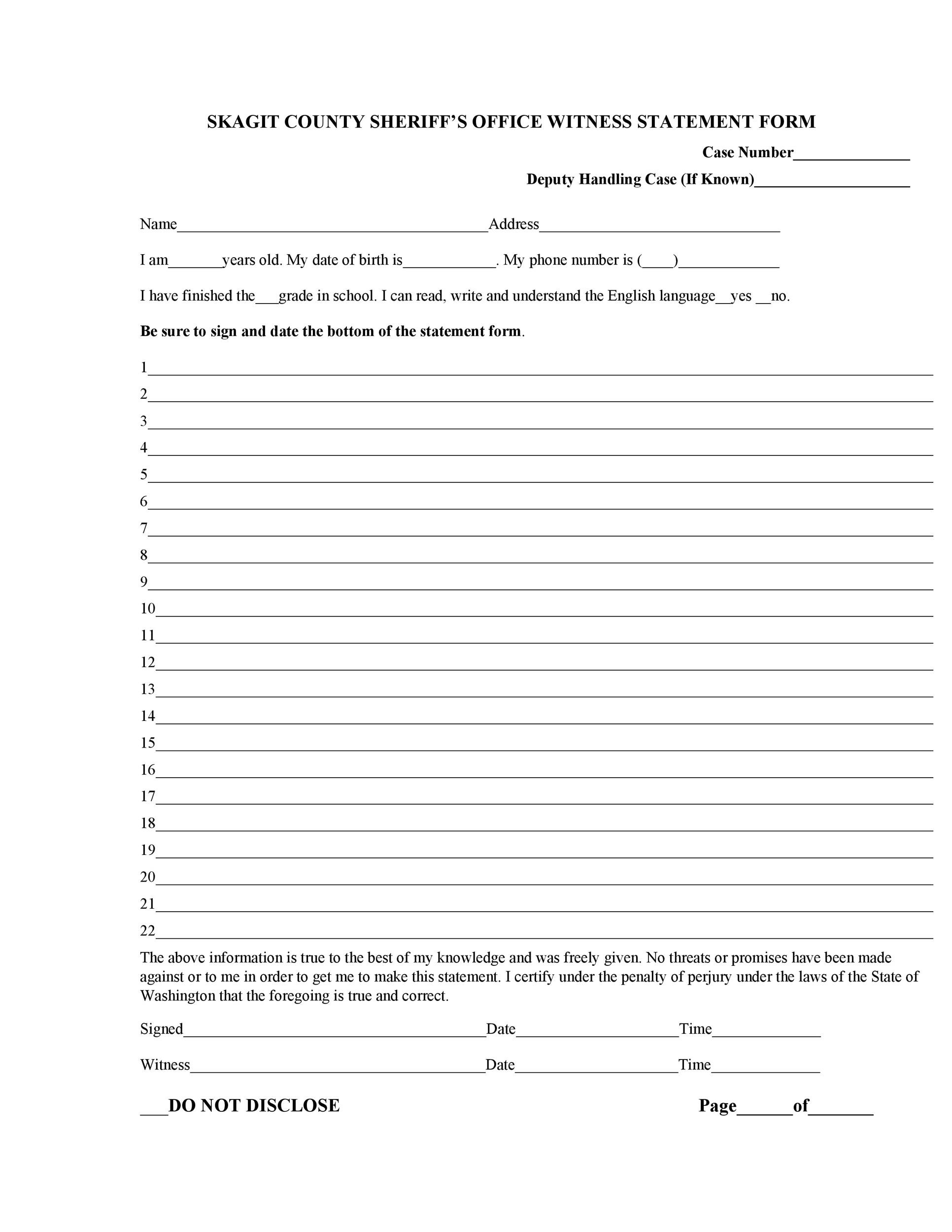 Free witness statement form 48