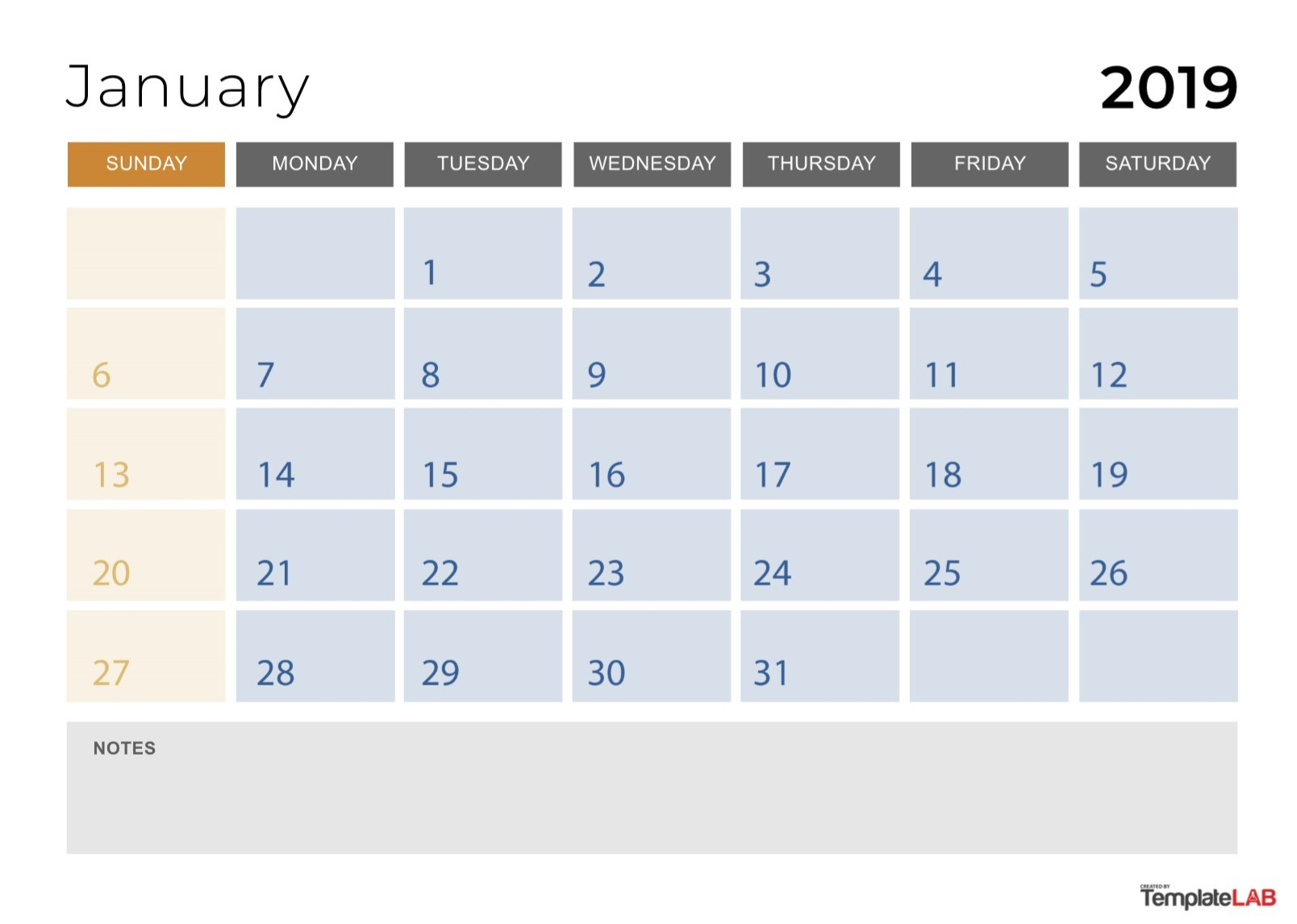Free 2019 Monthly Calendar