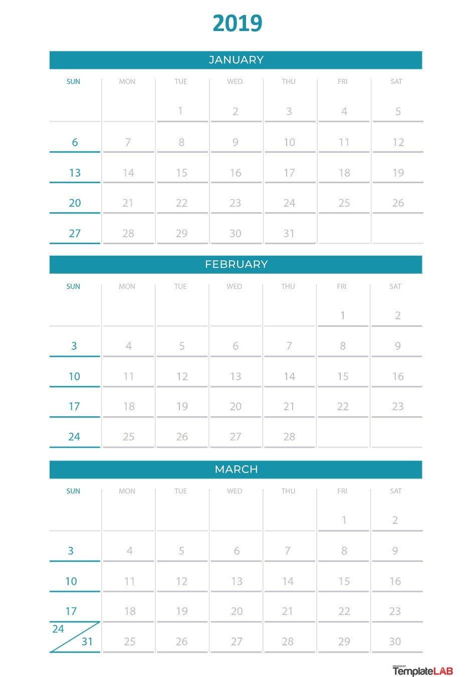 picture about Free Printable Monthly Calendar With Holidays titled 2019 Printable Calendars [Month to month, with Vacations, Every year] ᐅ