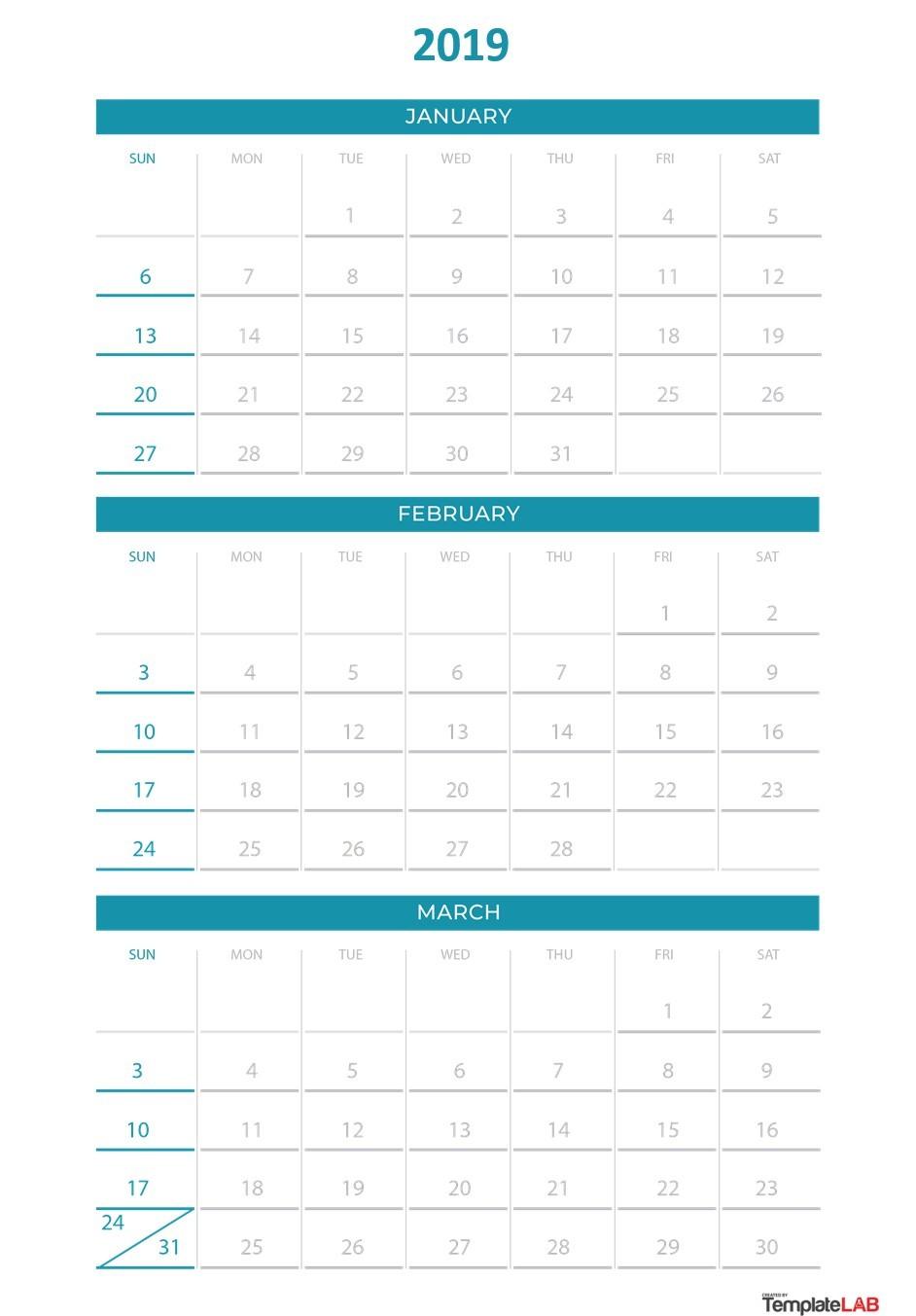 Free 2019 Quarterly Calendar