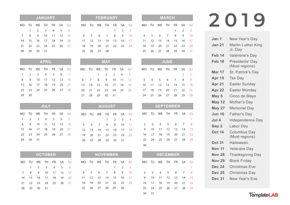Free 2019 Calendar with Holidays