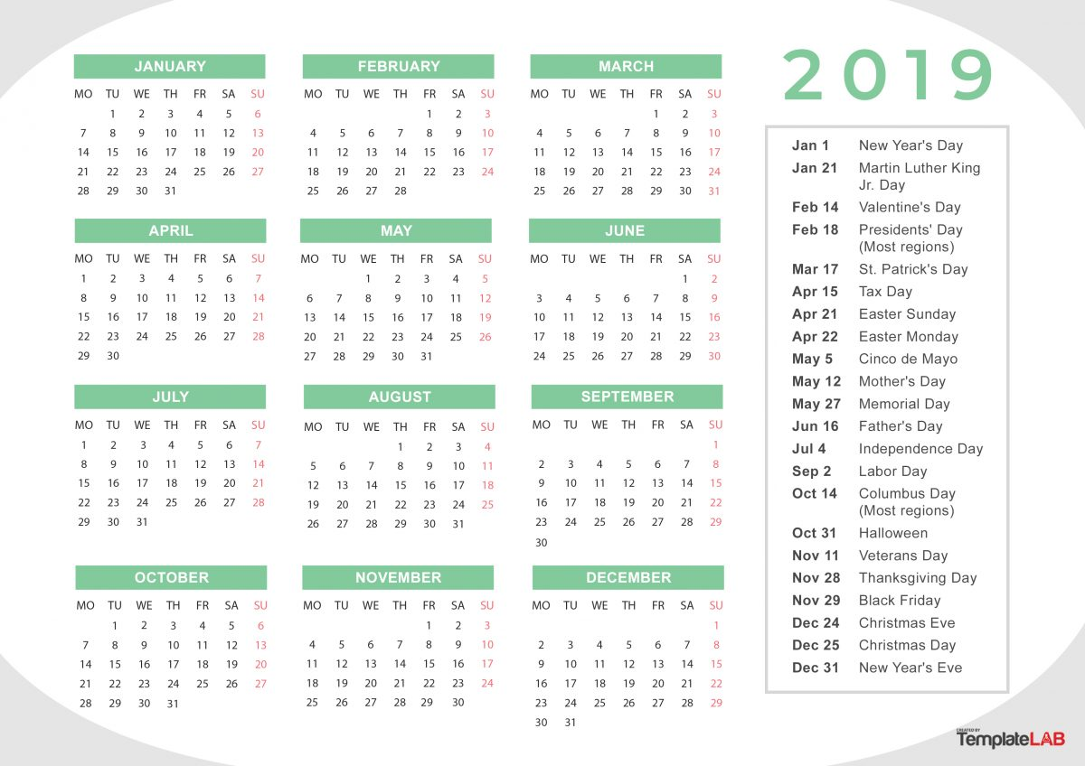 Free 2019 Calendar with Holidays 2