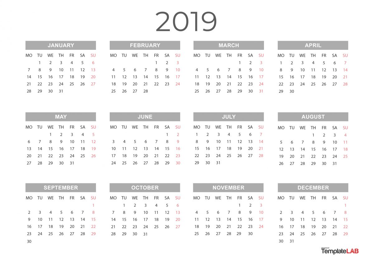 Printable 2019 Yearly Calendar 2019 Printable Calendars [Monthly, with Holidays, Yearly] ᐅ