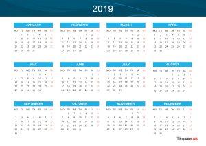 Yearly Calendar - 2019