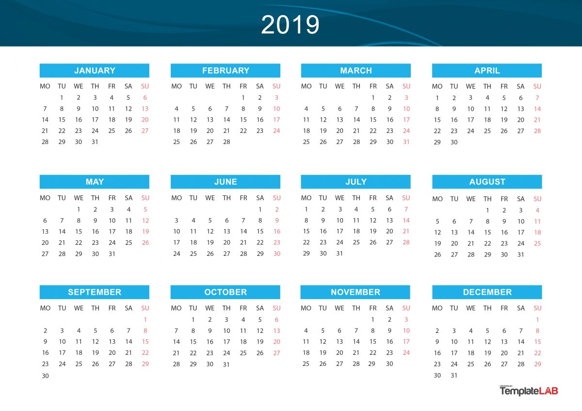 Free 2019 Yearly Calendar 2