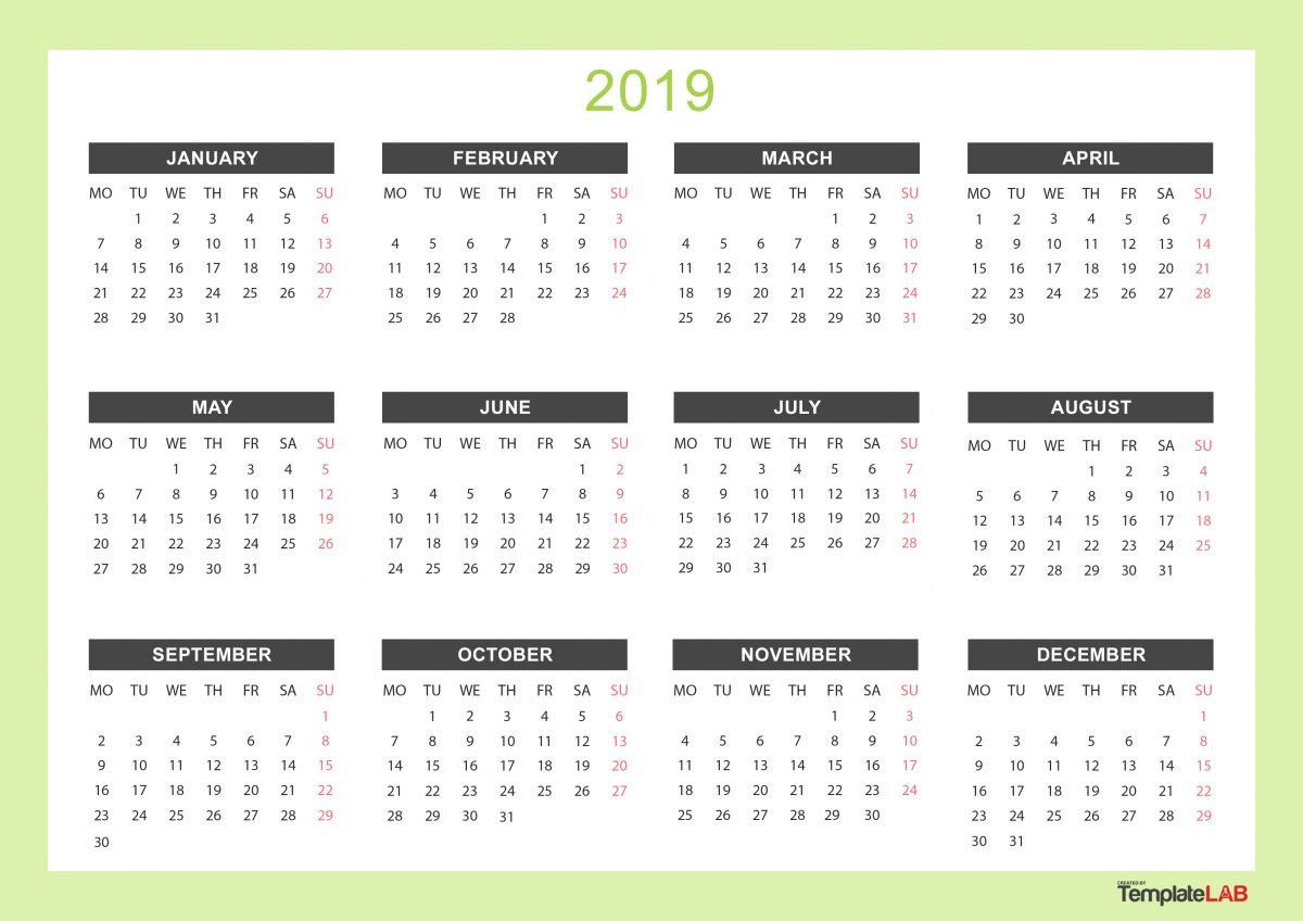 Yearly Calendar 2019 Printable 2019 Printable Calendars [Monthly, with Holidays, Yearly] ᐅ