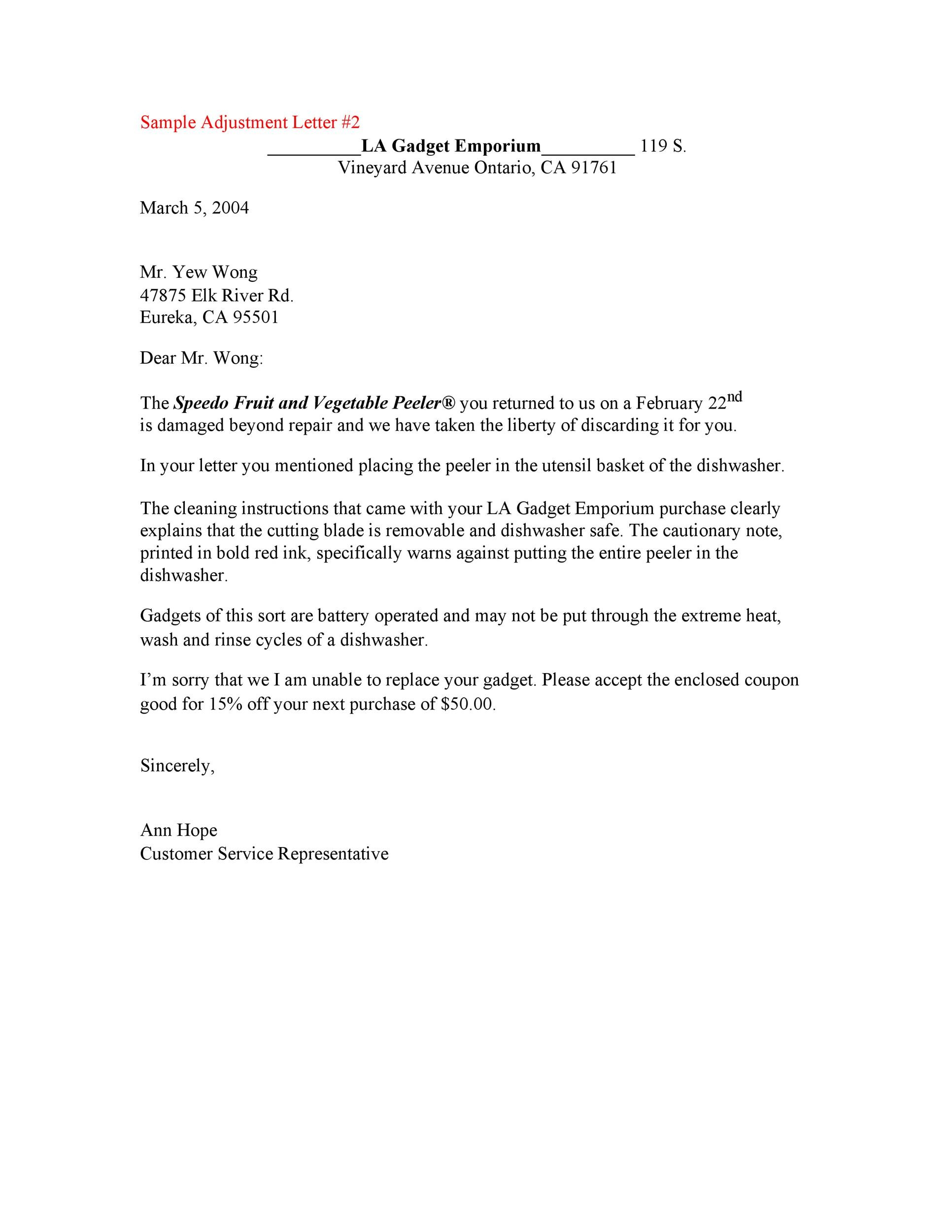 Free adjustment letter 01