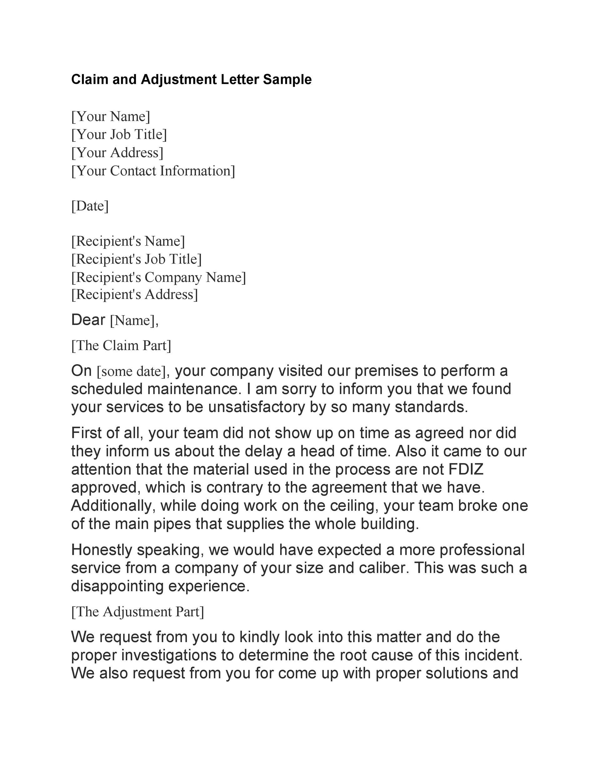Free adjustment letter 07