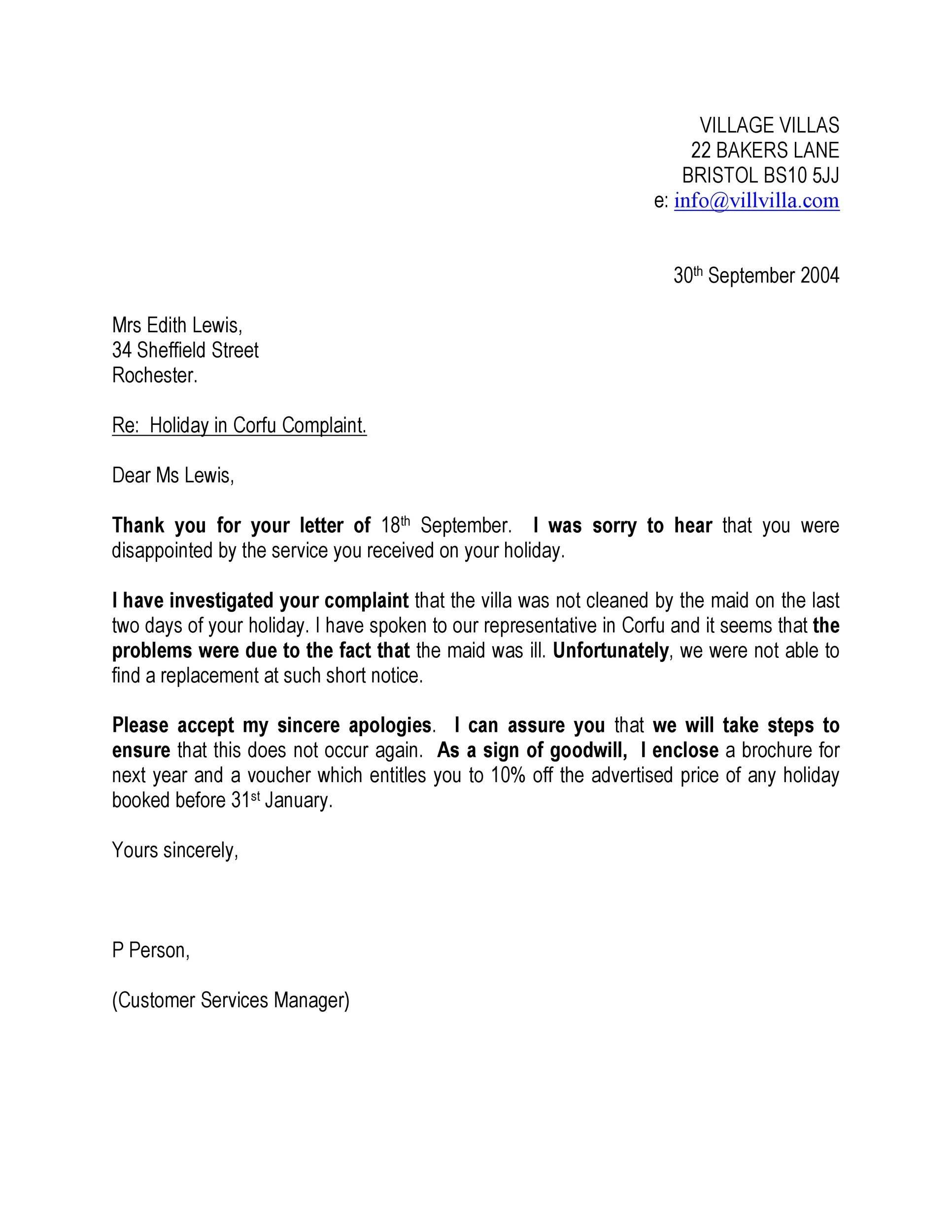 Free adjustment letter 10