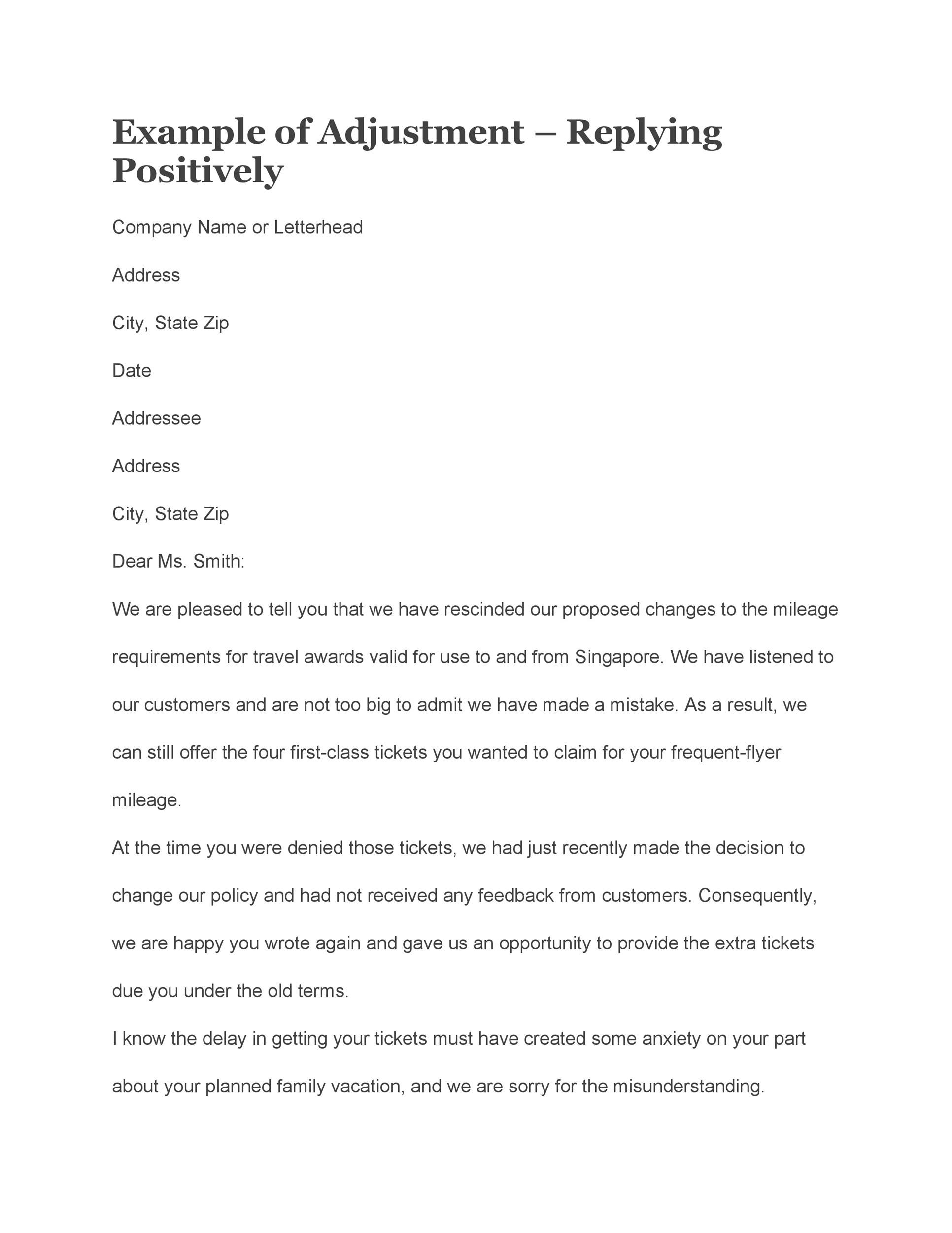 Free adjustment letter 22