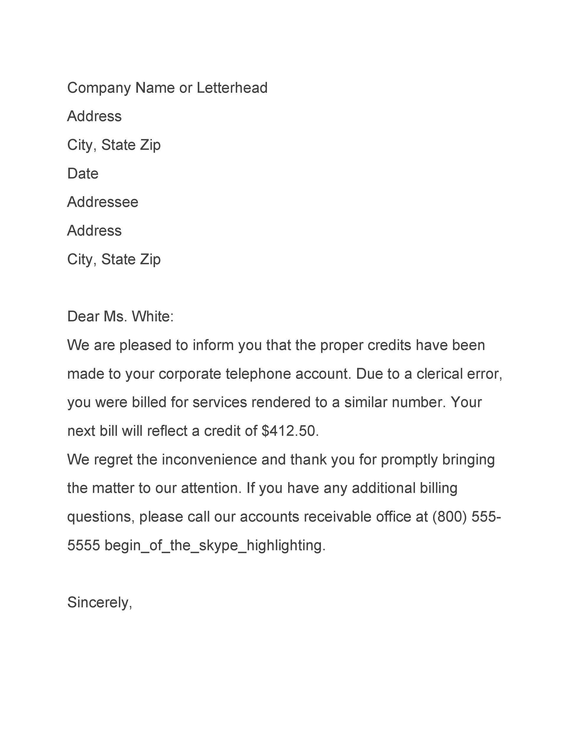 Free adjustment letter 23