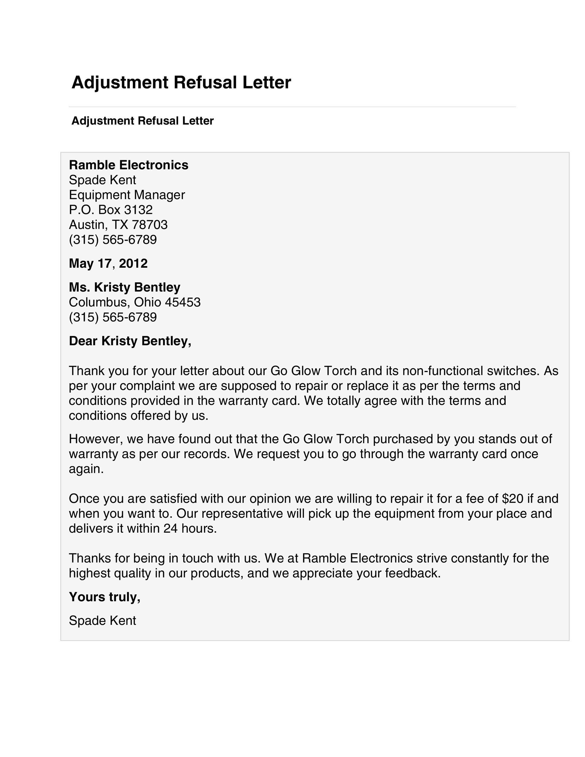 Free adjustment letter 40