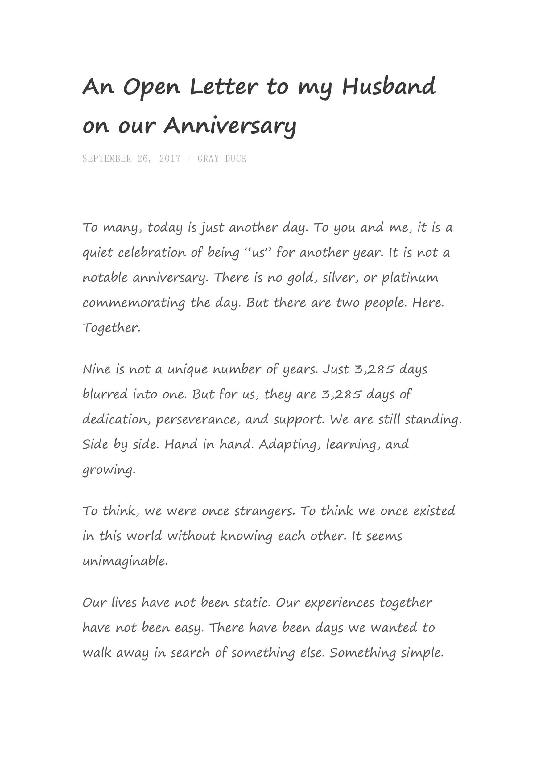 1 Year Anniversary Letter from templatelab.com