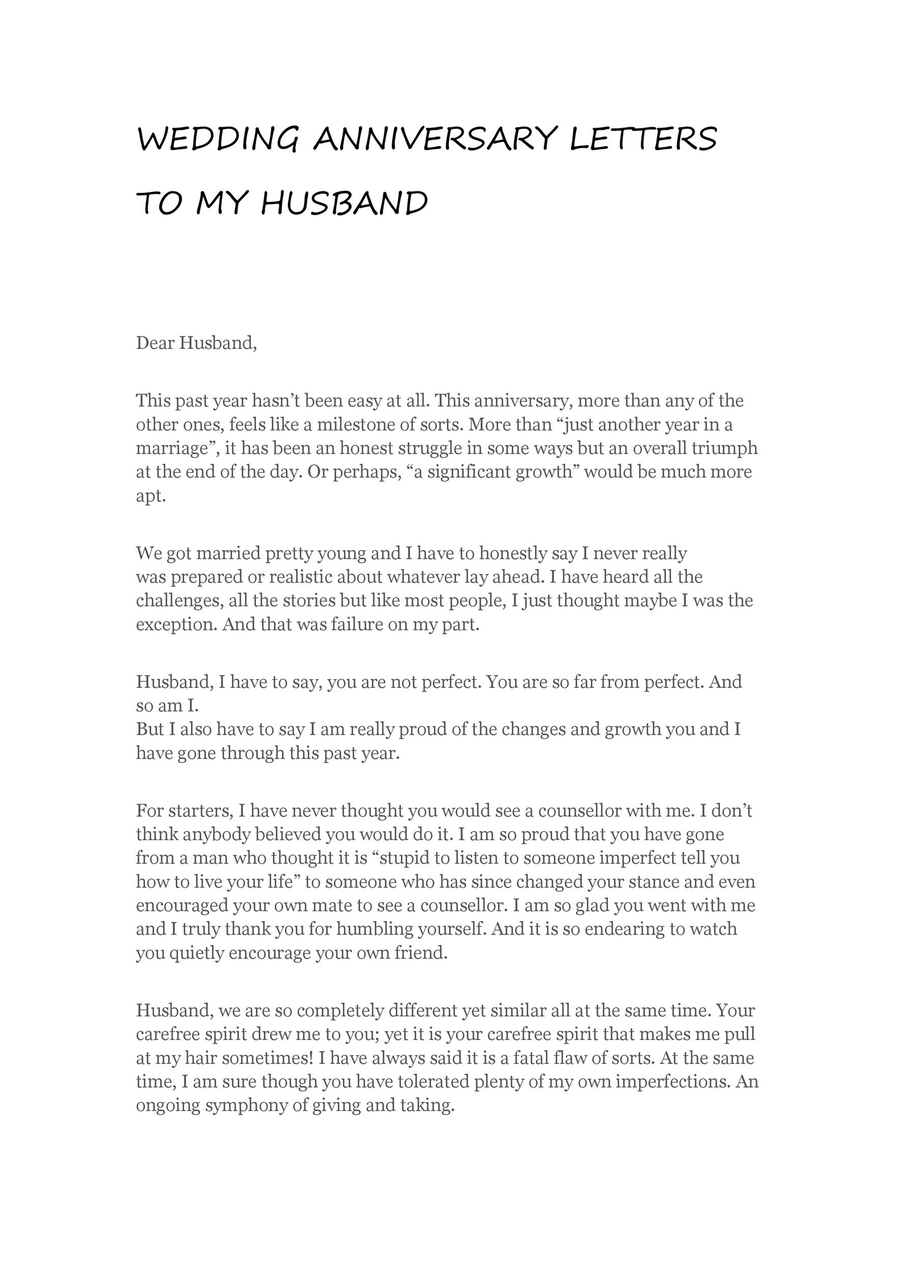 Happy Anniversary Letter To My Husband from templatelab.com