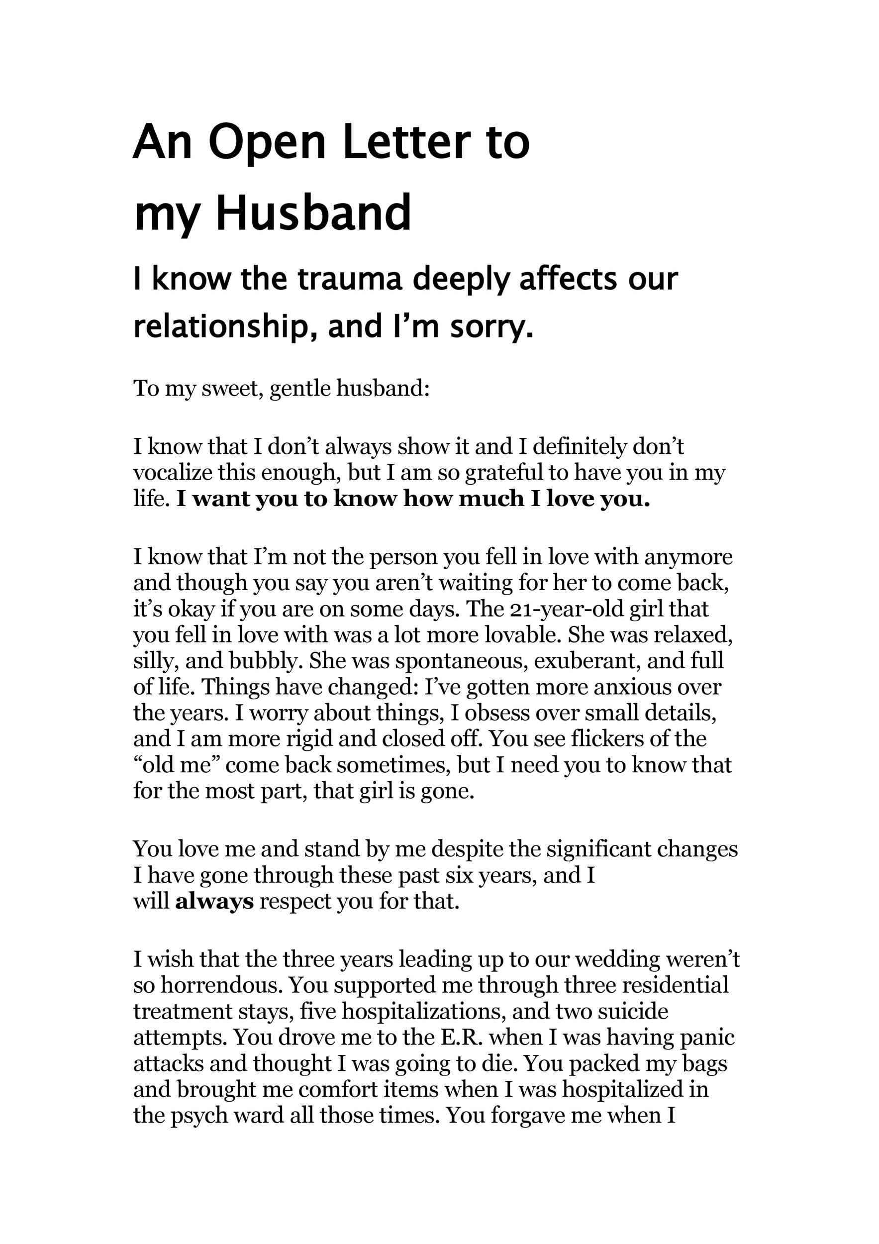 sweet letter to my husband