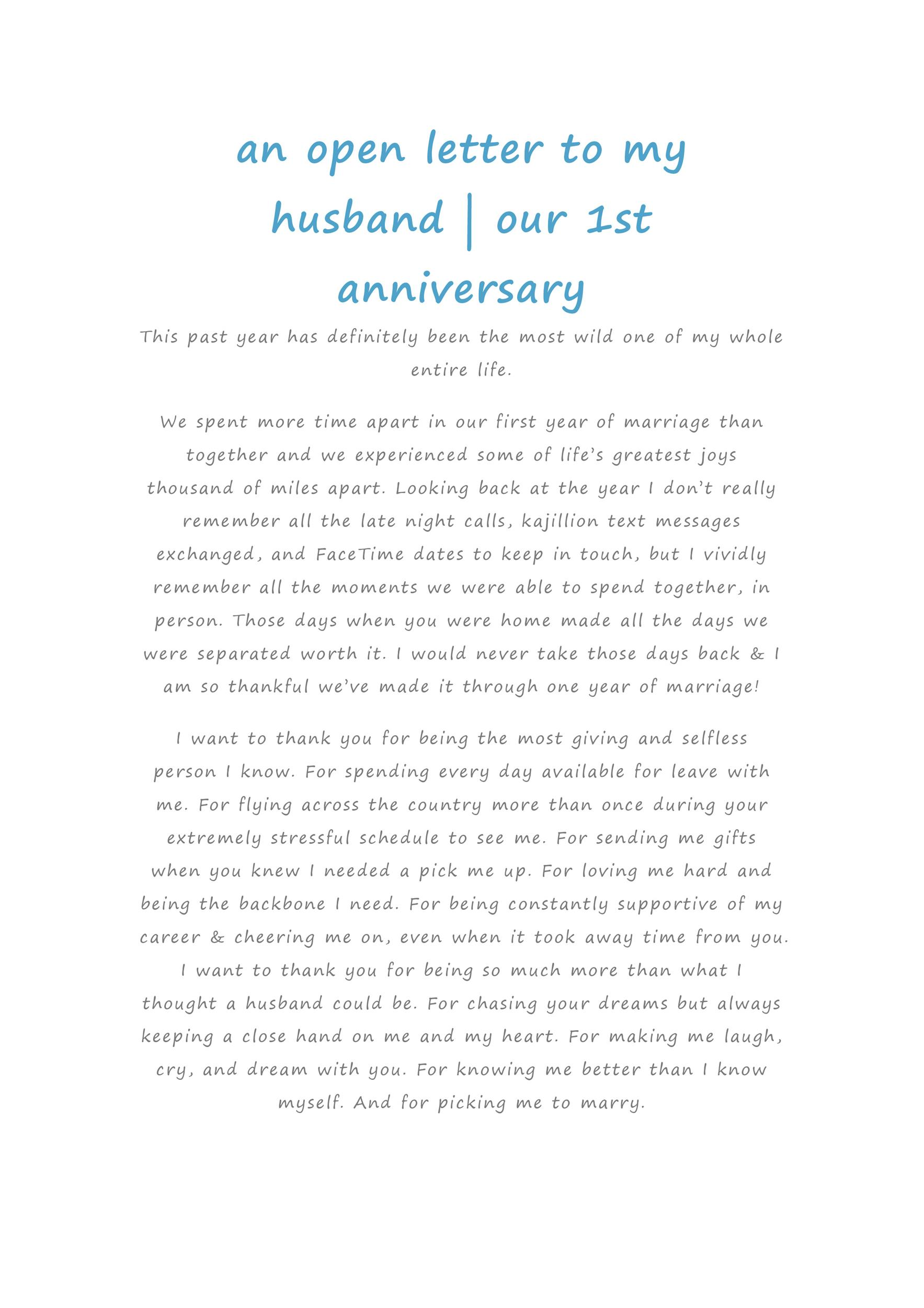Happy Anniversary To My Husband Letter from templatelab.com