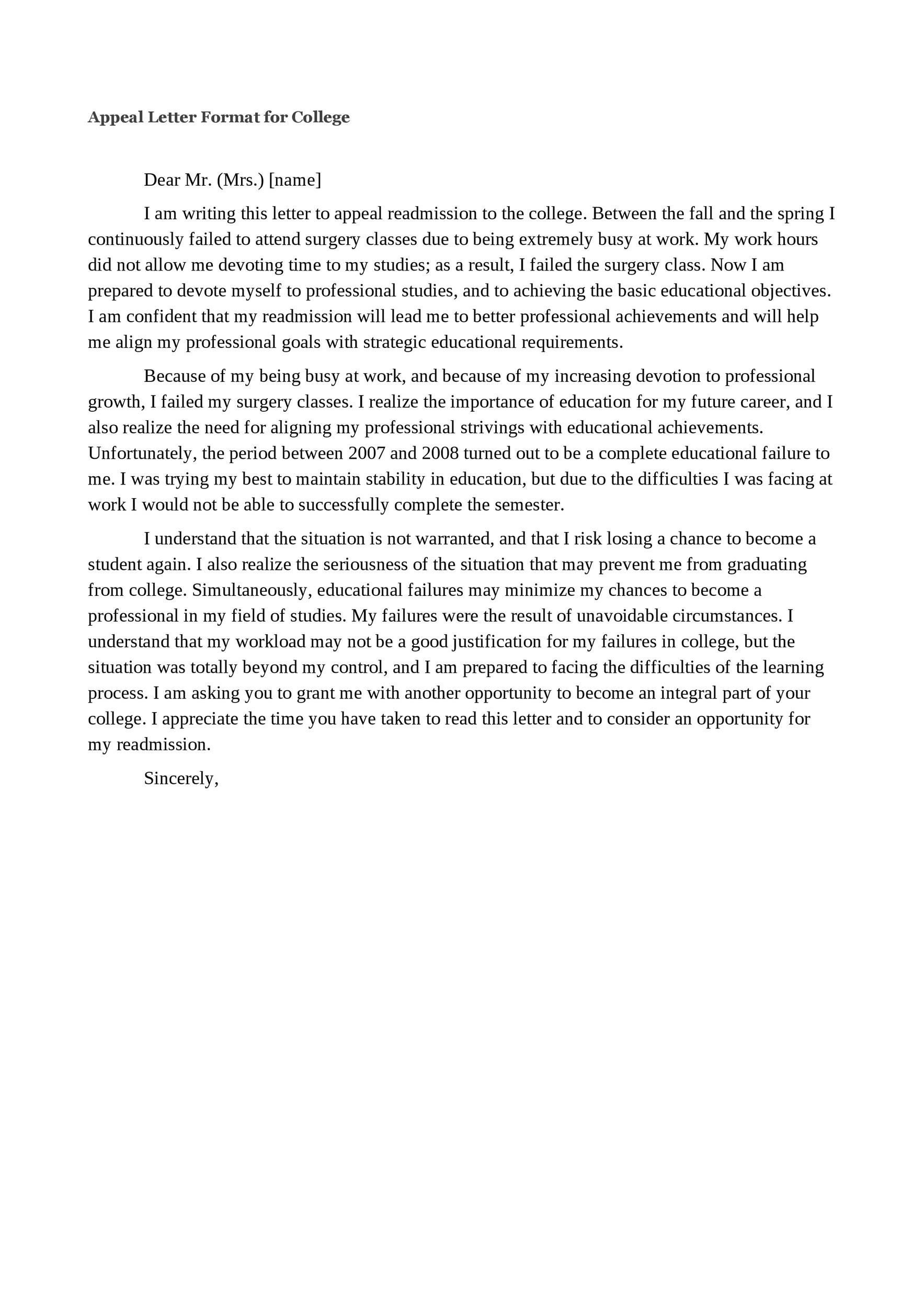 Free appeal letter 10