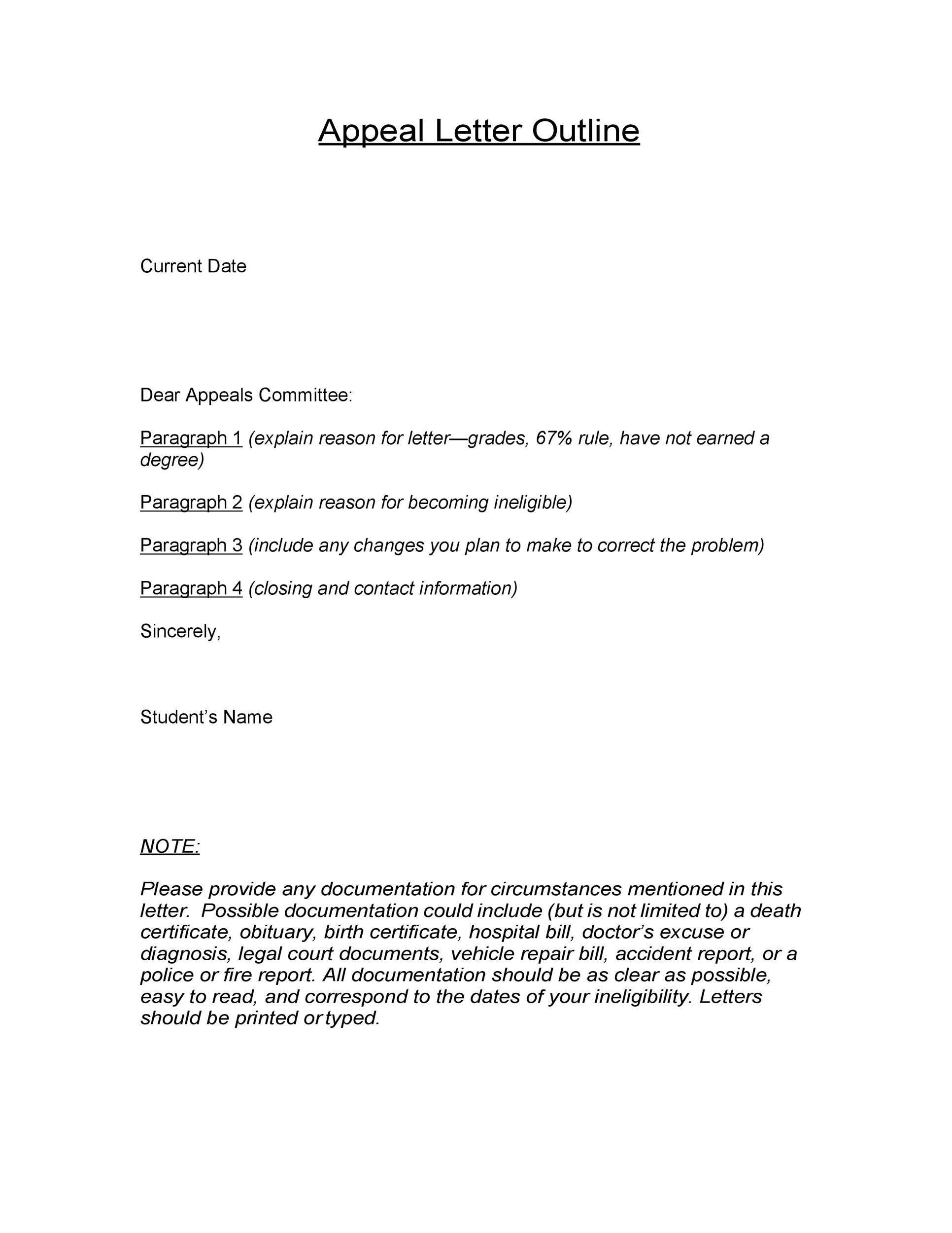 Free appeal letter 12
