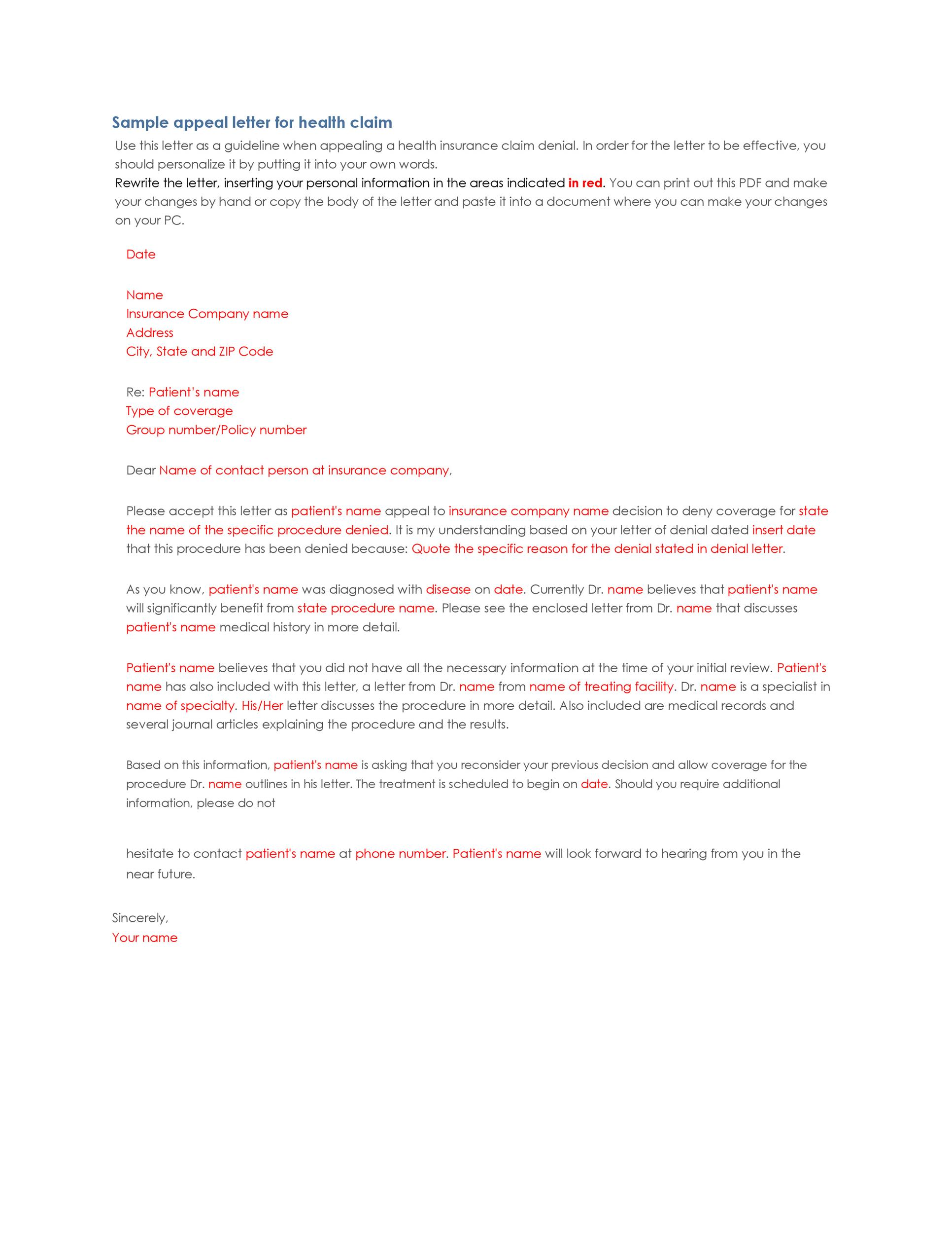 Free appeal letter 14