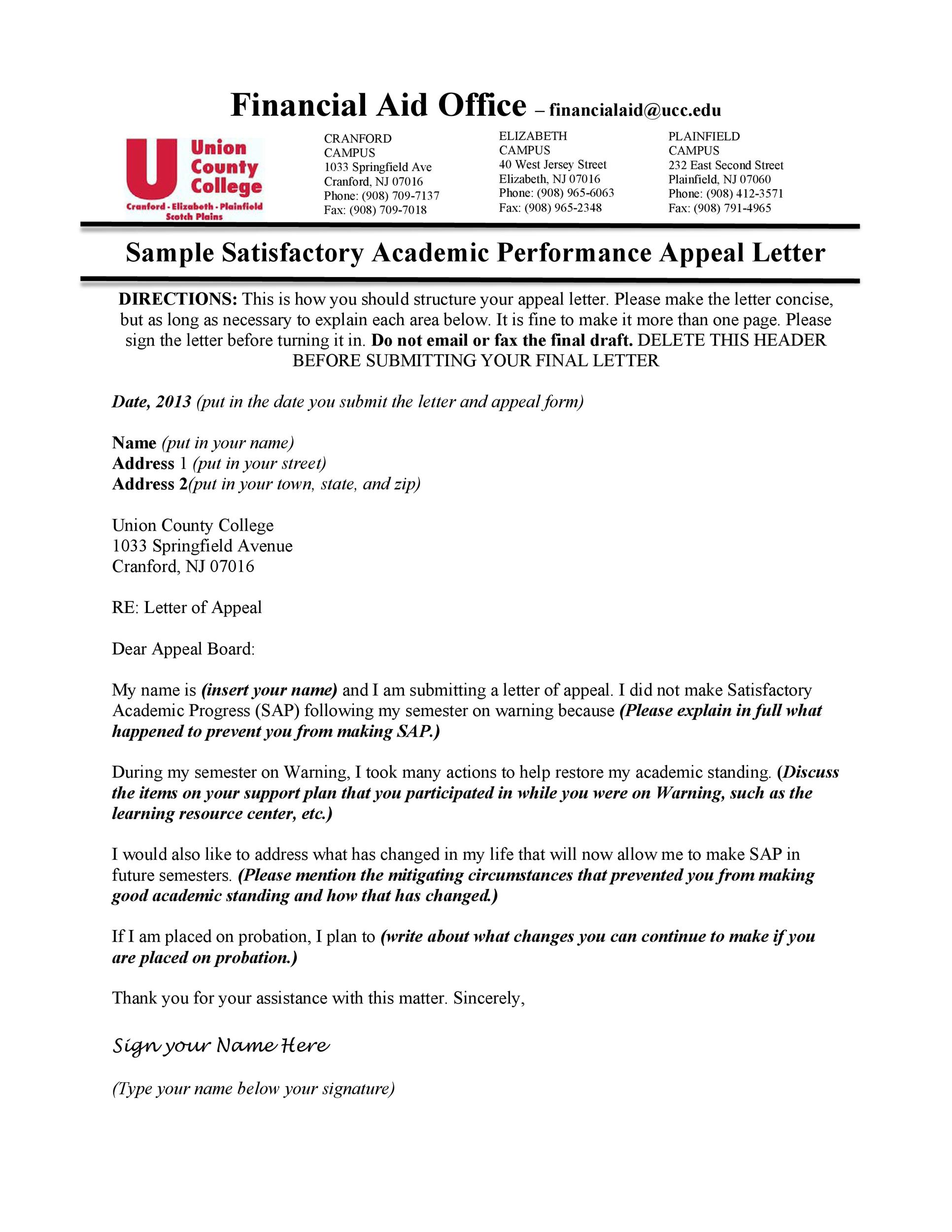 Free appeal letter 16