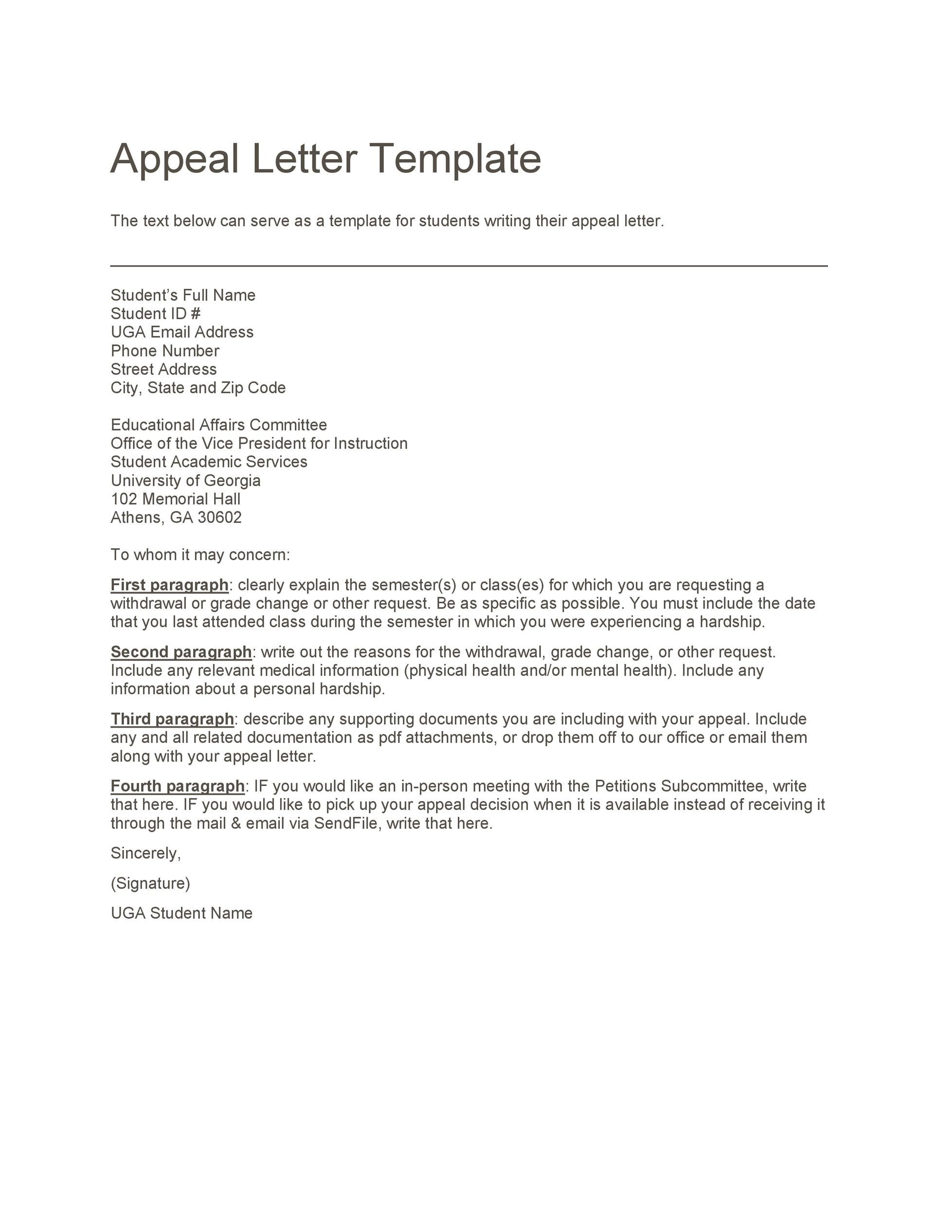 Sample Of Appealing Letter from templatelab.com