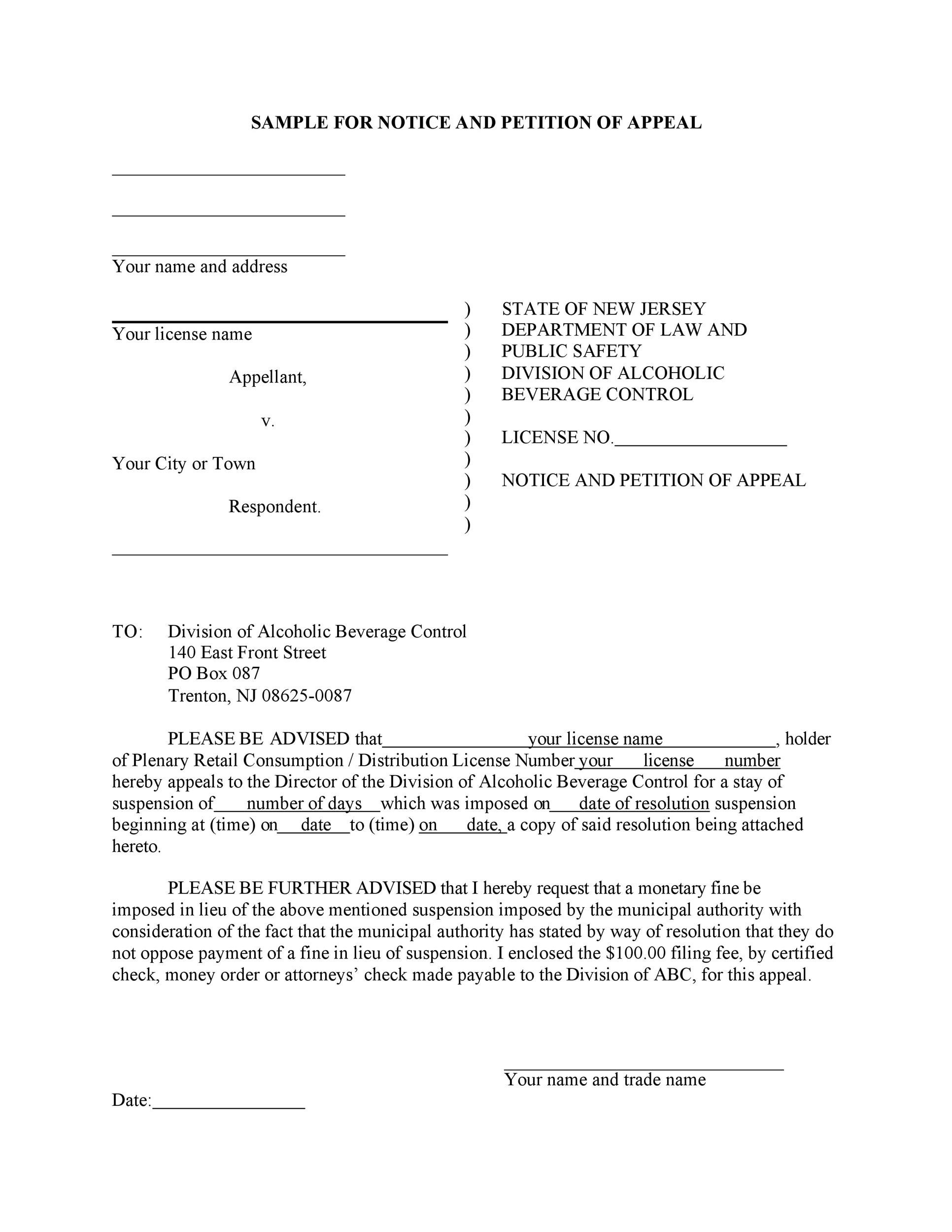 Free appeal letter 22