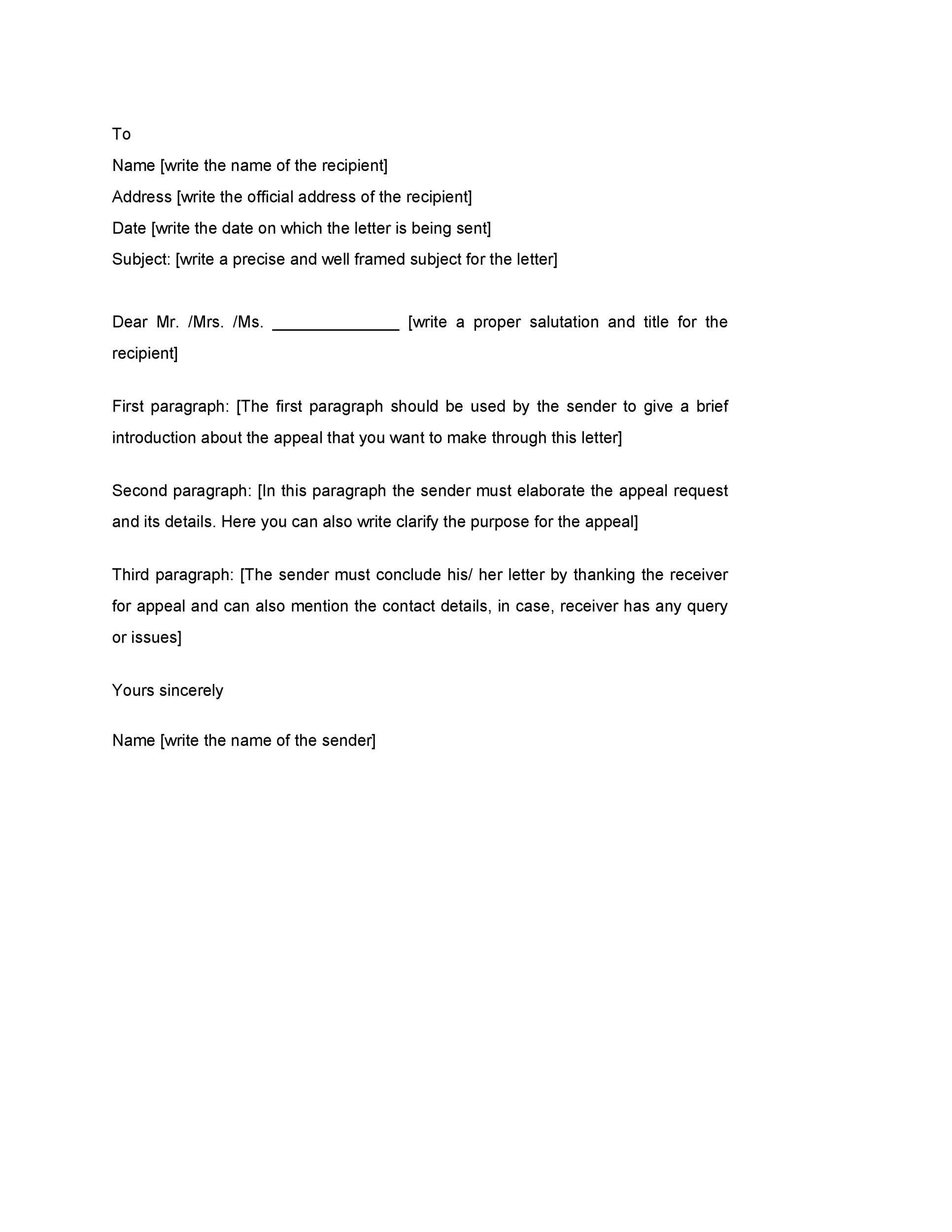 Free appeal letter 24